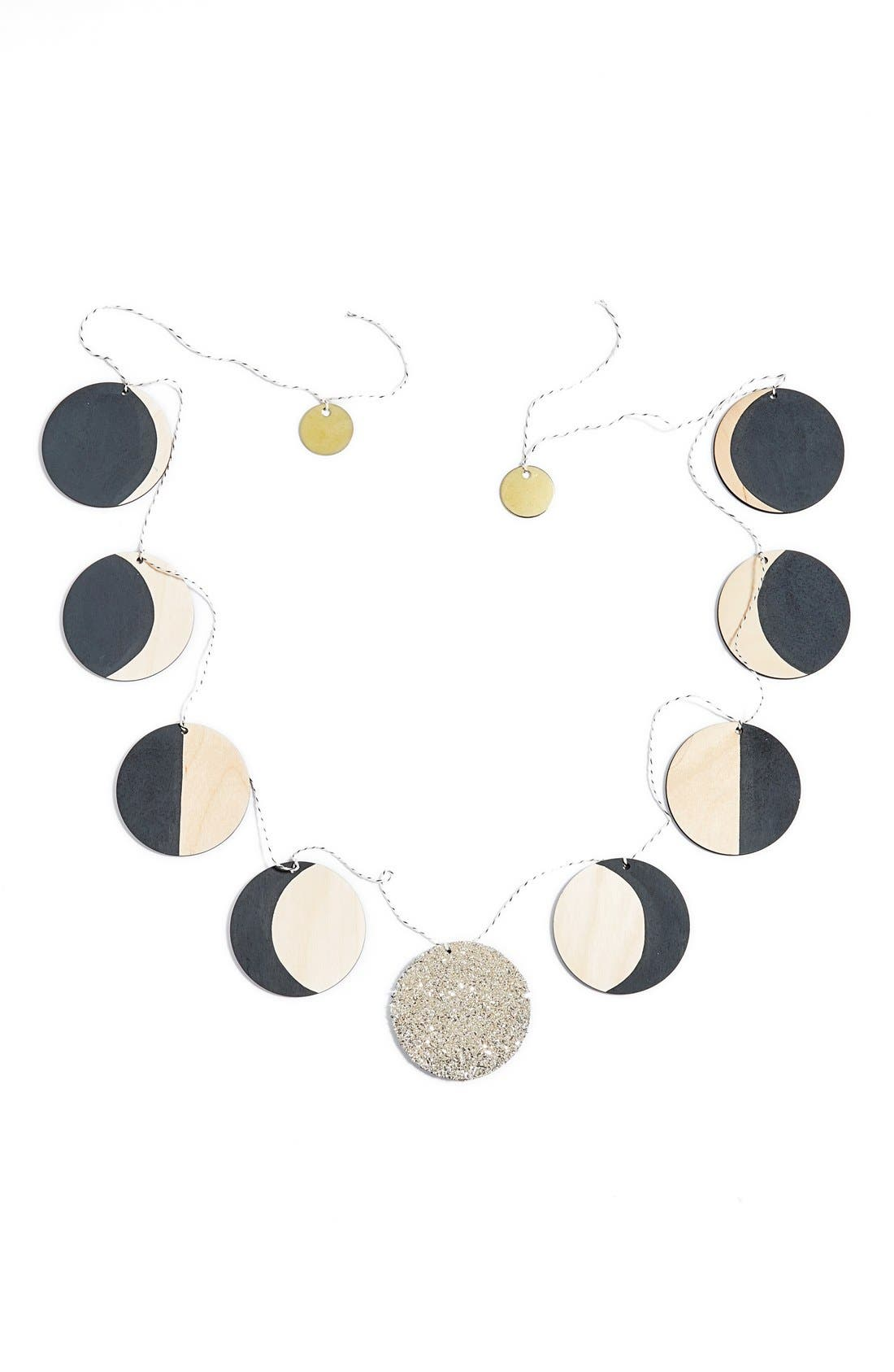 Moon Phase Wooden Garland, Main, color, 020