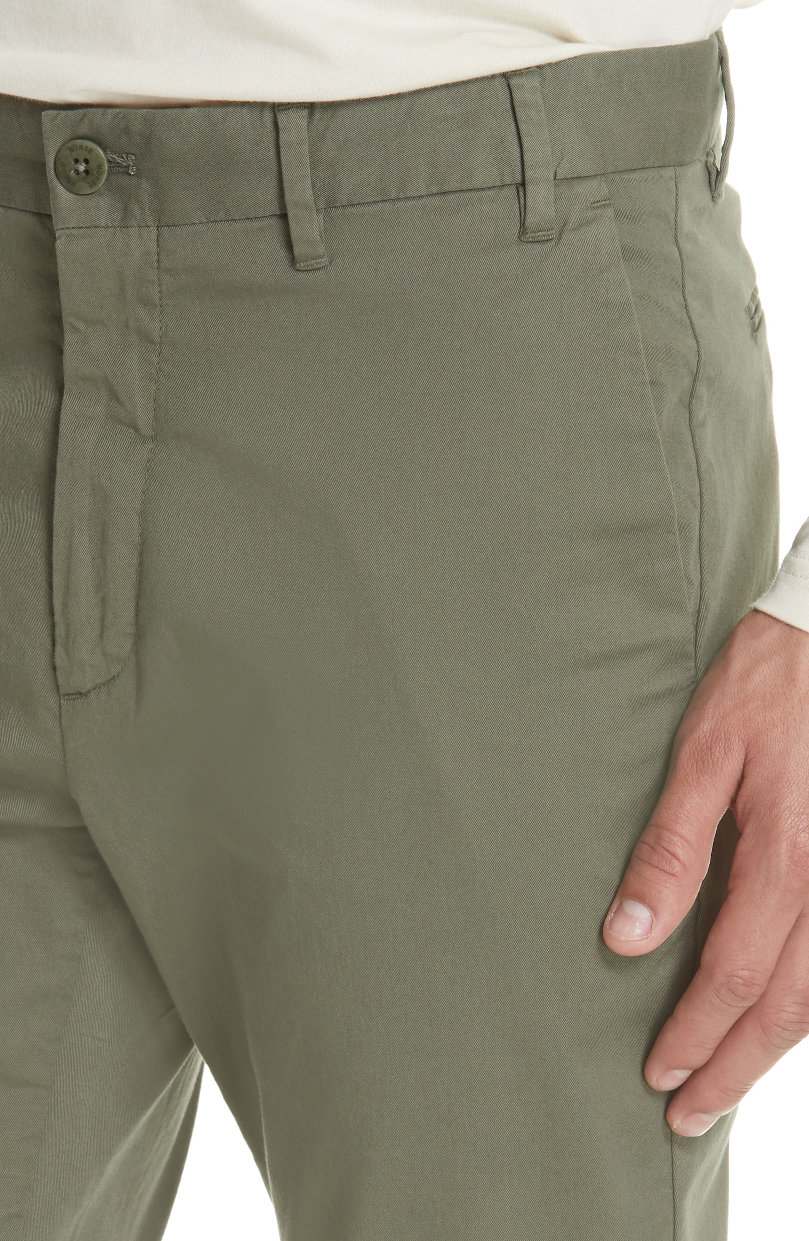 Aros Slim Fit Stretch Twill Pants,                             Alternate thumbnail 4, color,                             DRIED OLIVE