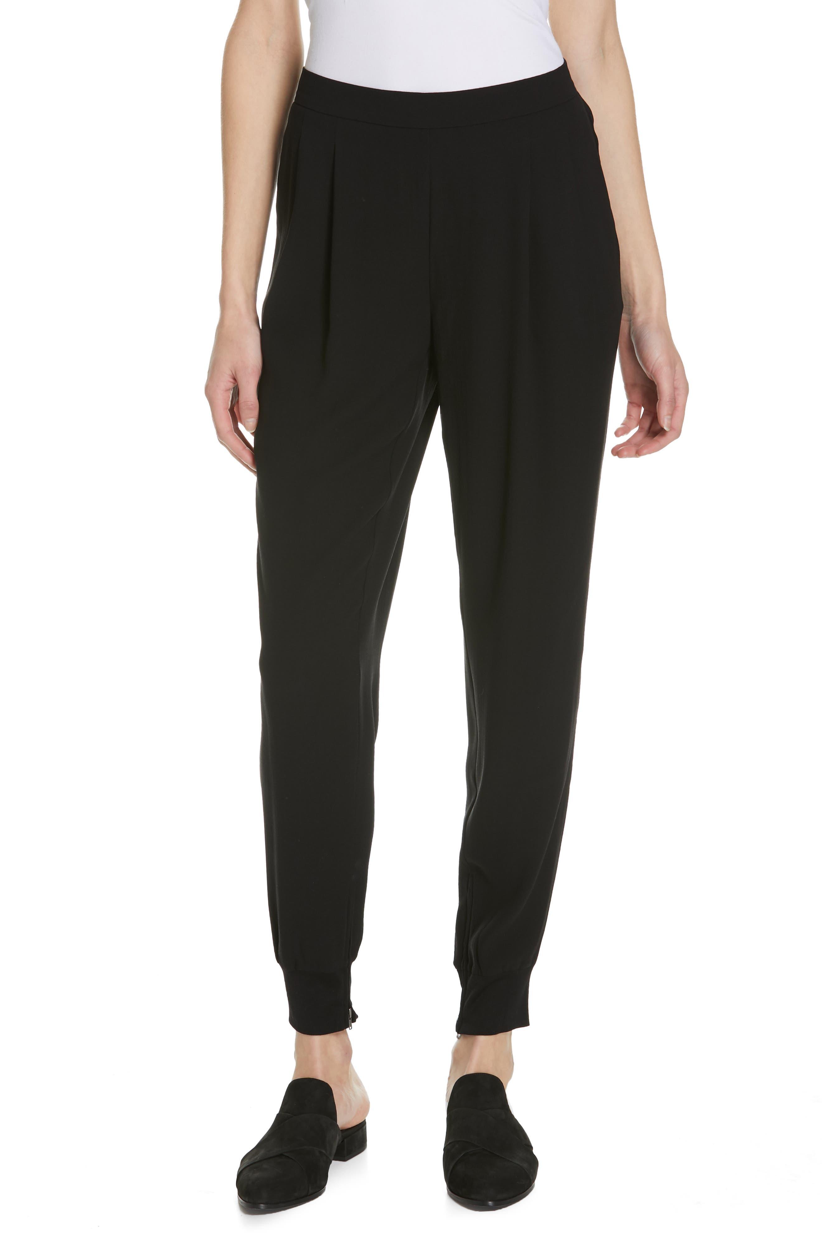 Slouchy Silk Ankle Pants, Main, color, BLACK