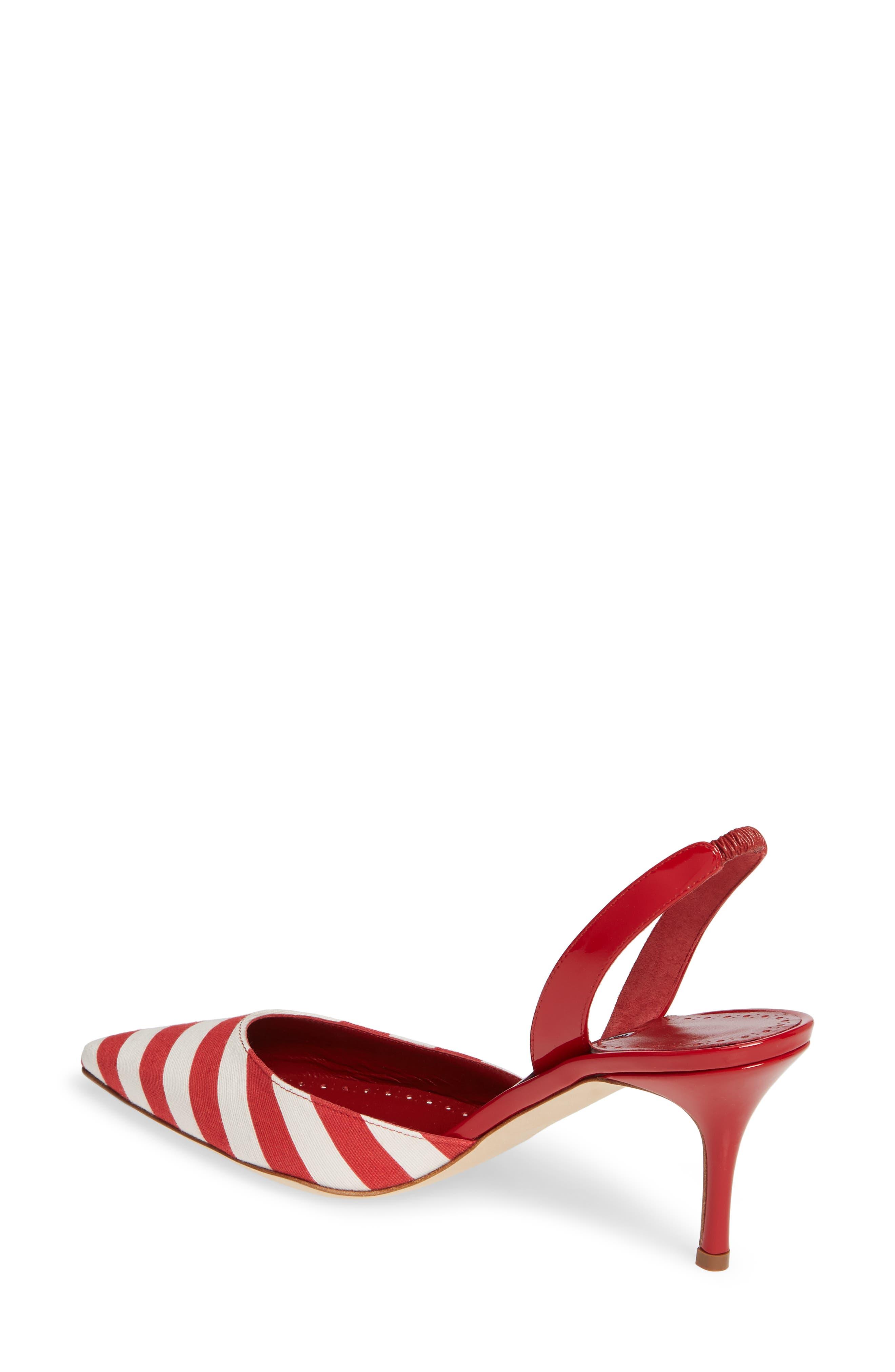 'Carolyne' Pointy Toe Slingback Pump,                             Alternate thumbnail 2, color,                             RED/ WHITE STRIPE