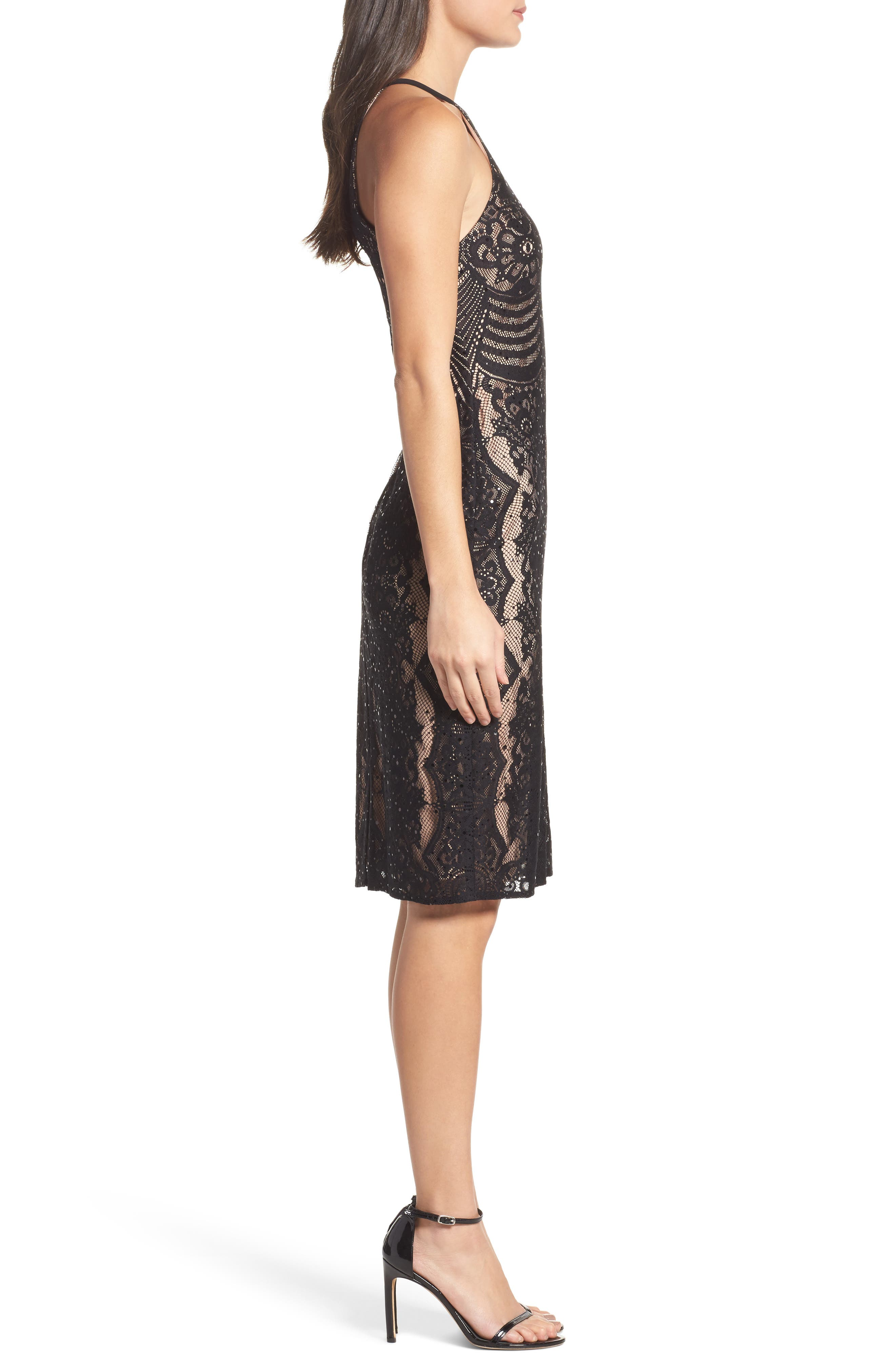 Lace Halter Sheath Dress,                             Alternate thumbnail 3, color,                             018