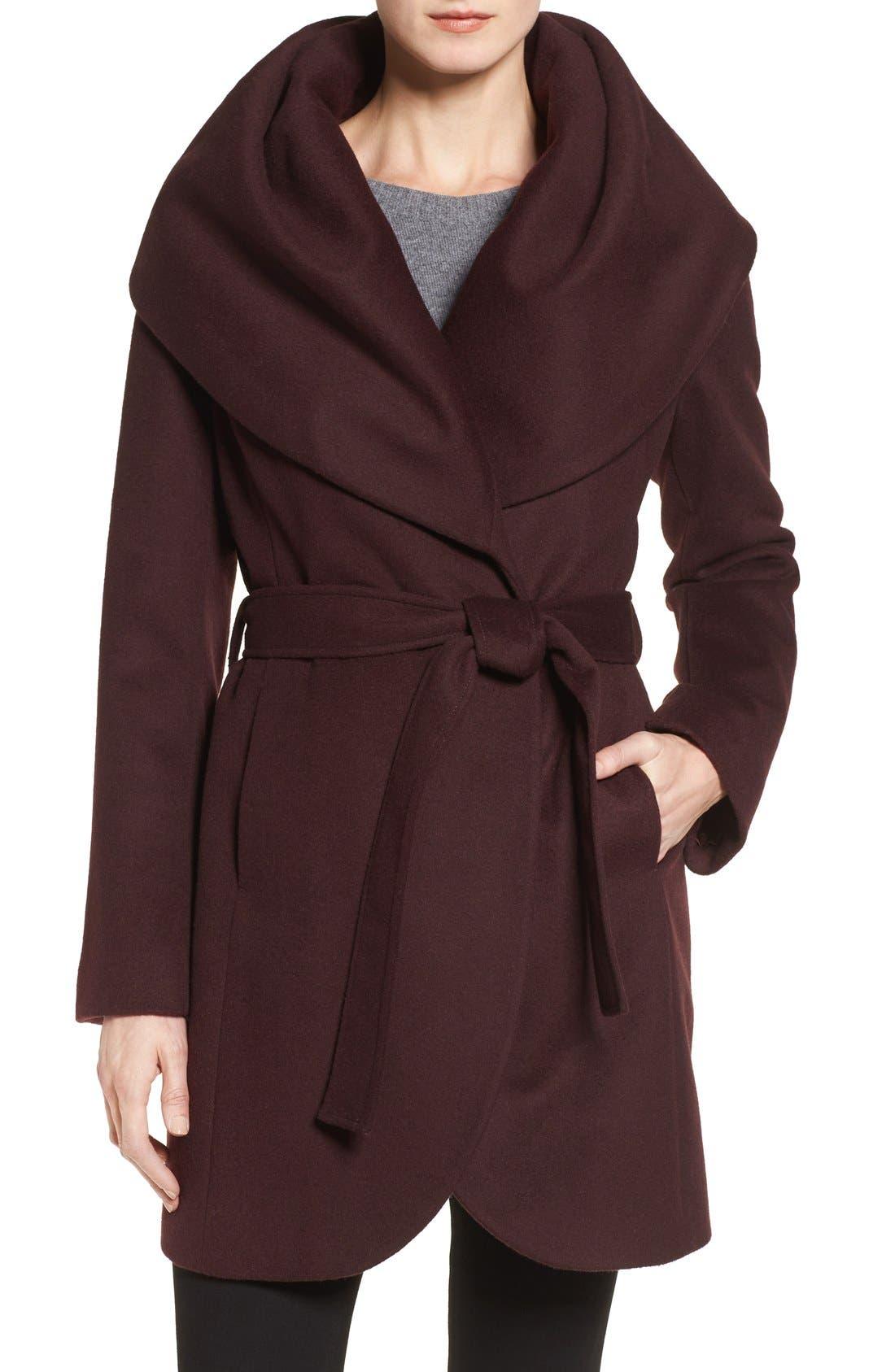 T Tahari Wool Blend Belted Wrap Coat,                             Main thumbnail 9, color,