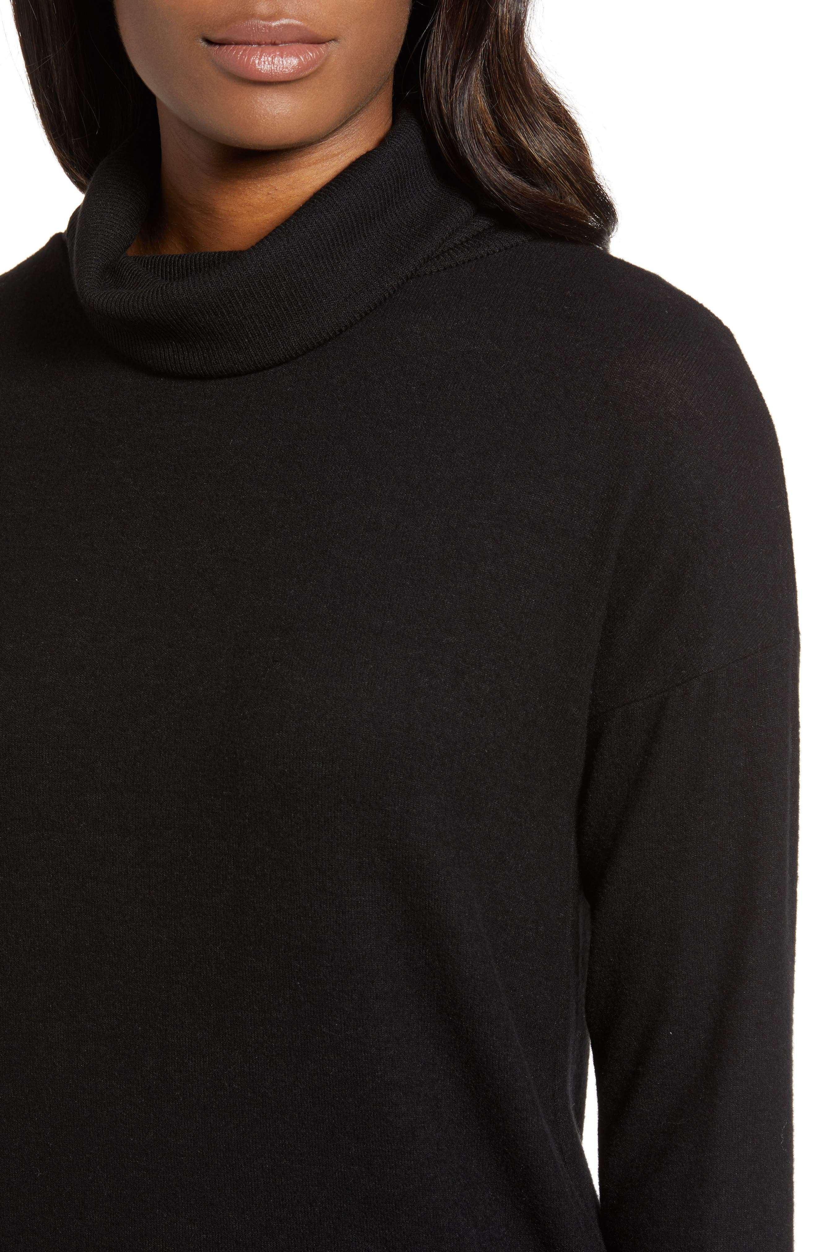 Cozy Turtleneck,                             Alternate thumbnail 4, color,                             BLACK