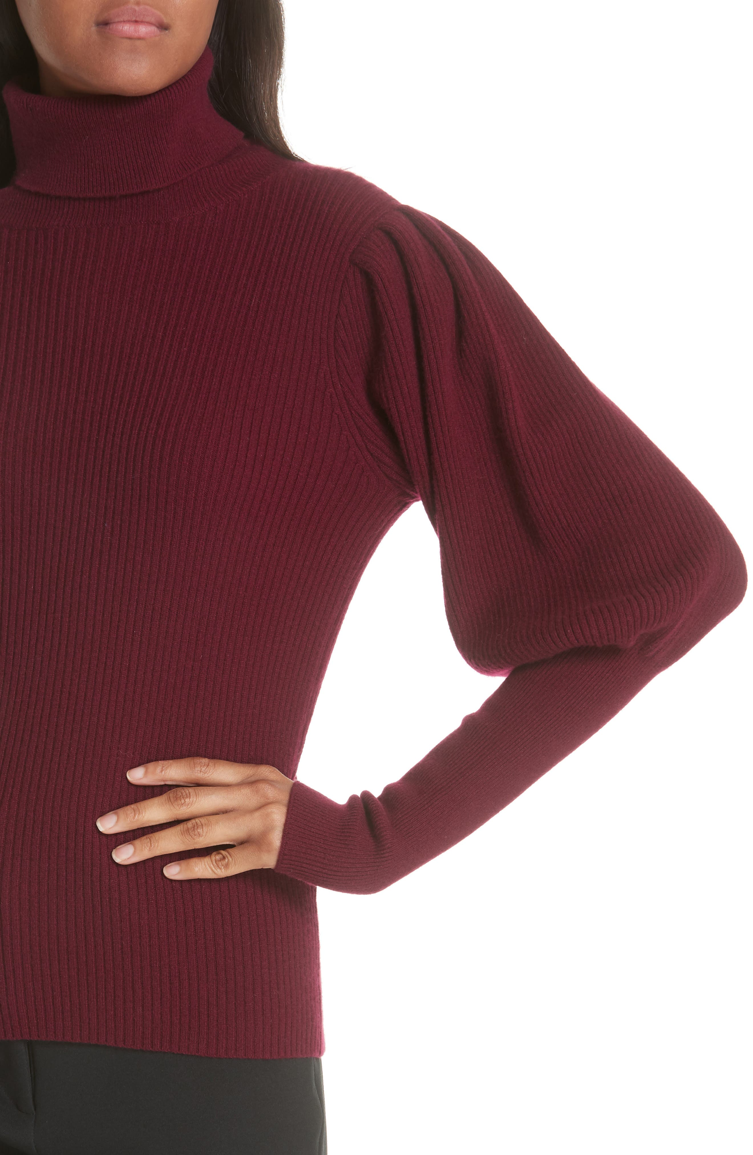 Bishop Sleeve Cashmere Sweater,                             Alternate thumbnail 4, color,                             933