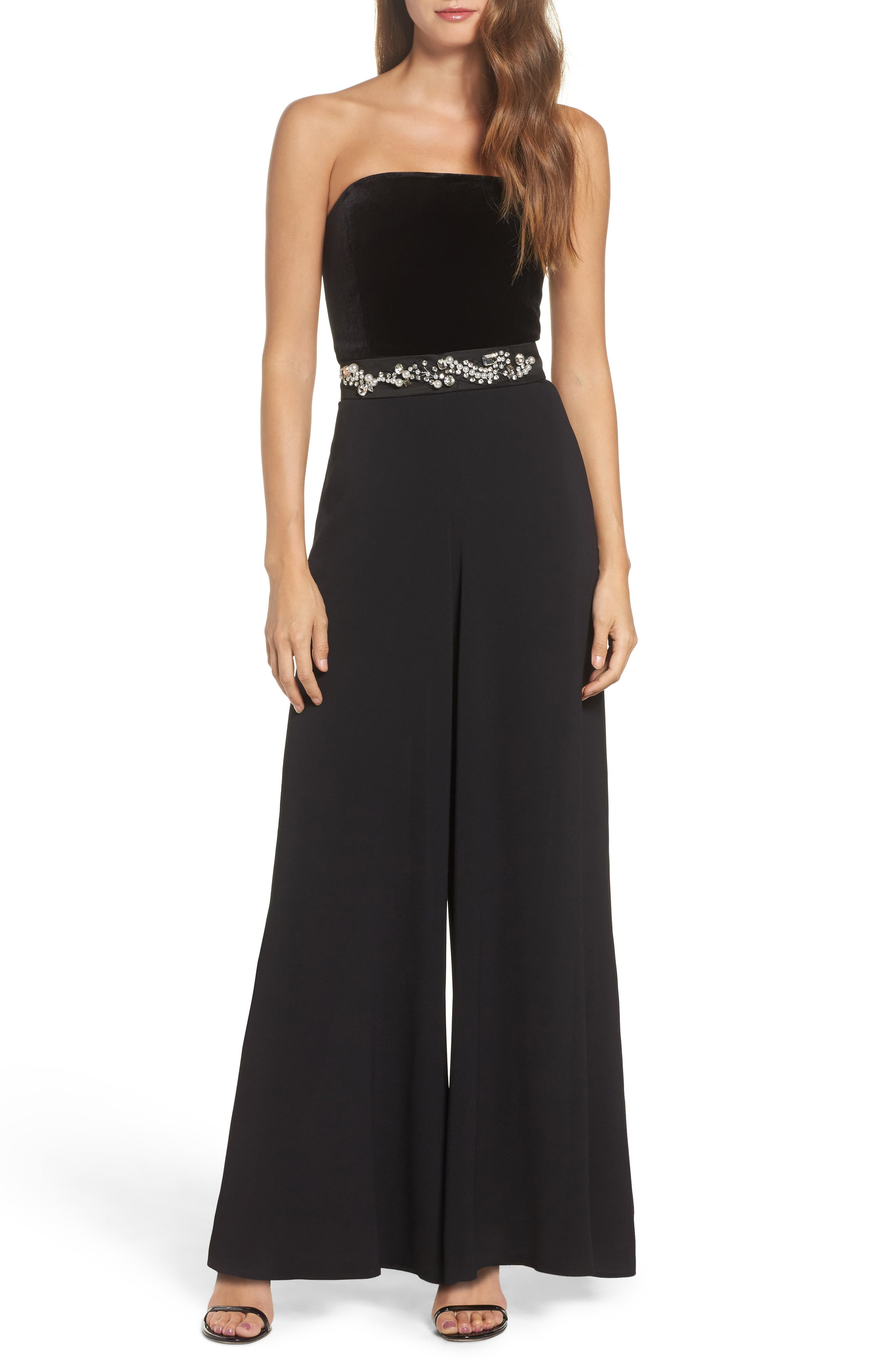 Embellished Belt Strapless Velvet & Crepe Jumpsuit,                         Main,                         color, 001