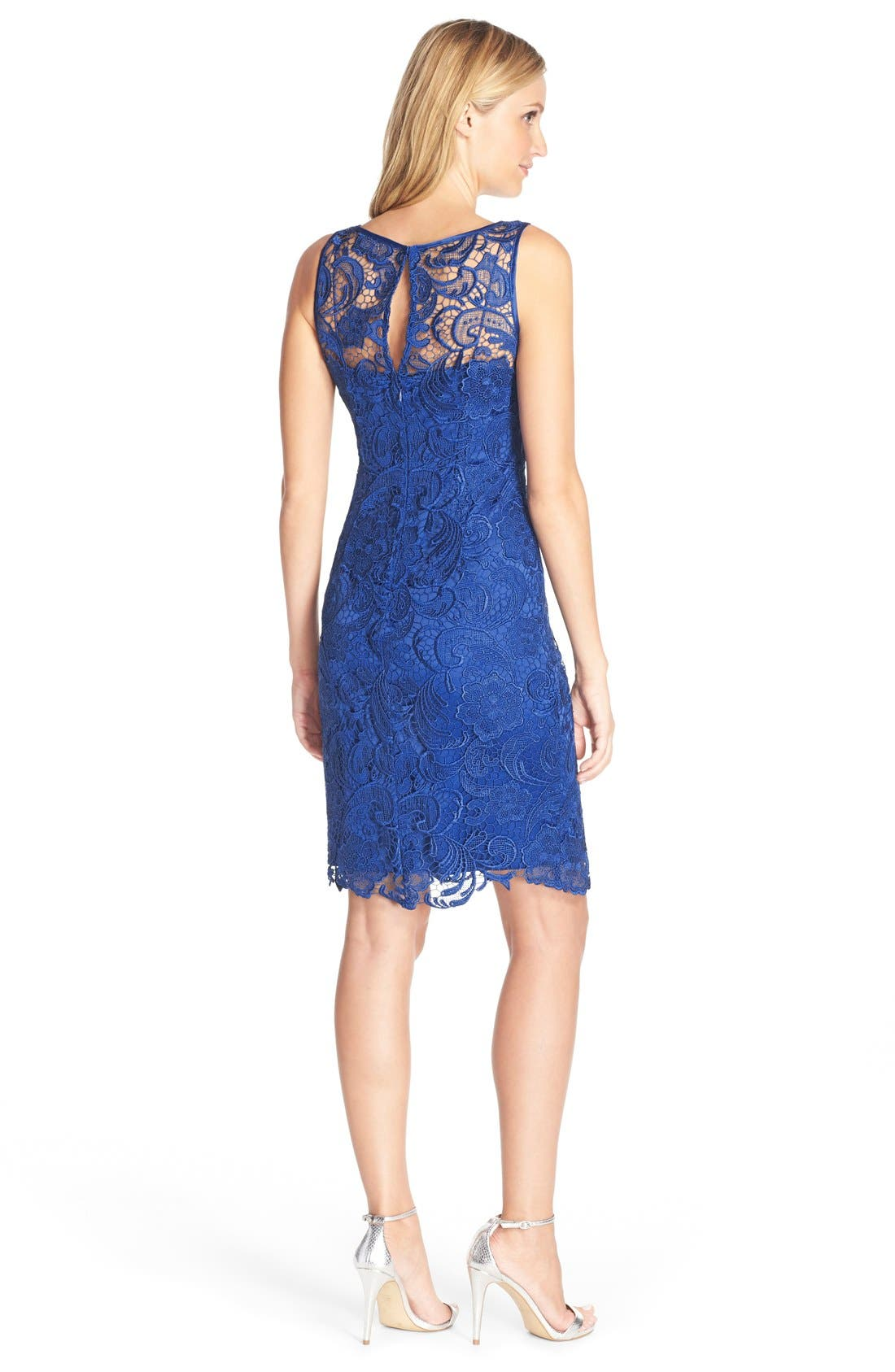 Illusion Bodice Lace Sheath Dress,                             Alternate thumbnail 38, color,