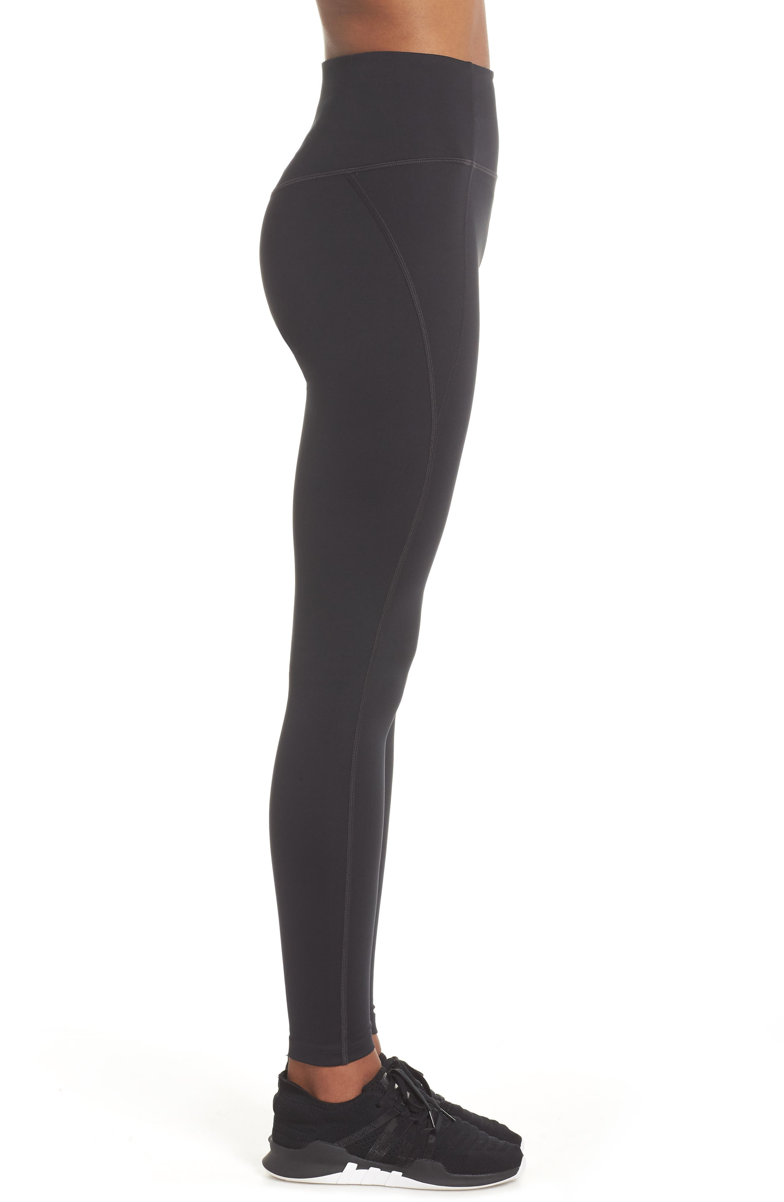 GIRLFRIEND COLLECTIVE, High Waist Full Length Leggings, Alternate thumbnail 4, color, BLACK