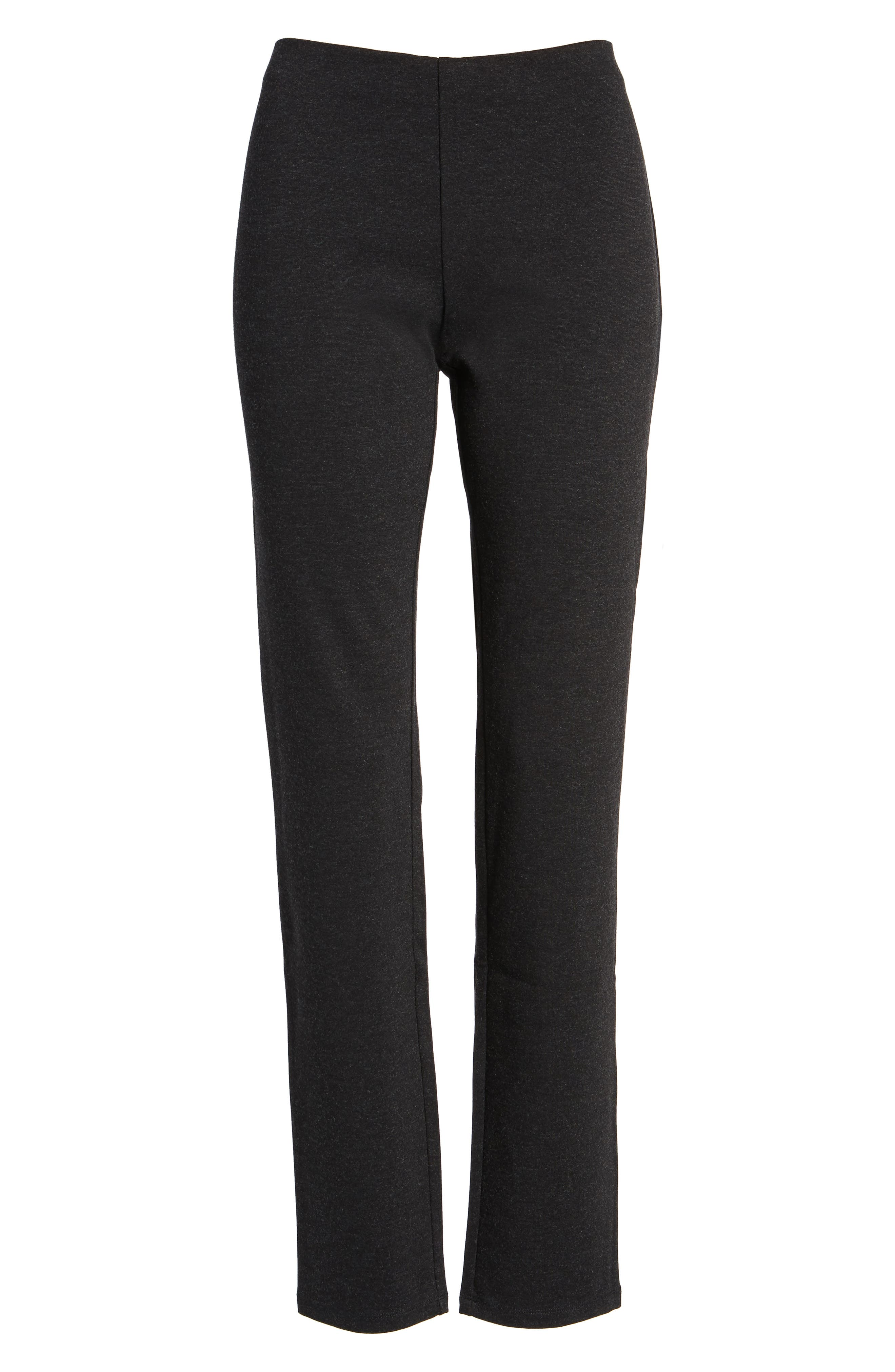 petite women's eileen fisher skinny ponte pants, size petite p - grey