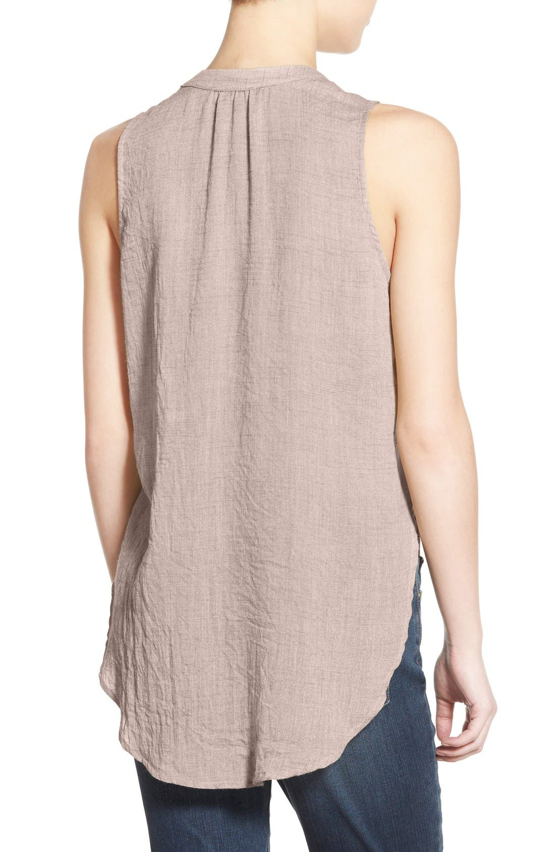 ---,                             Lace-Up Sleeveless Henley Top,                             Alternate thumbnail 2, color,                             020