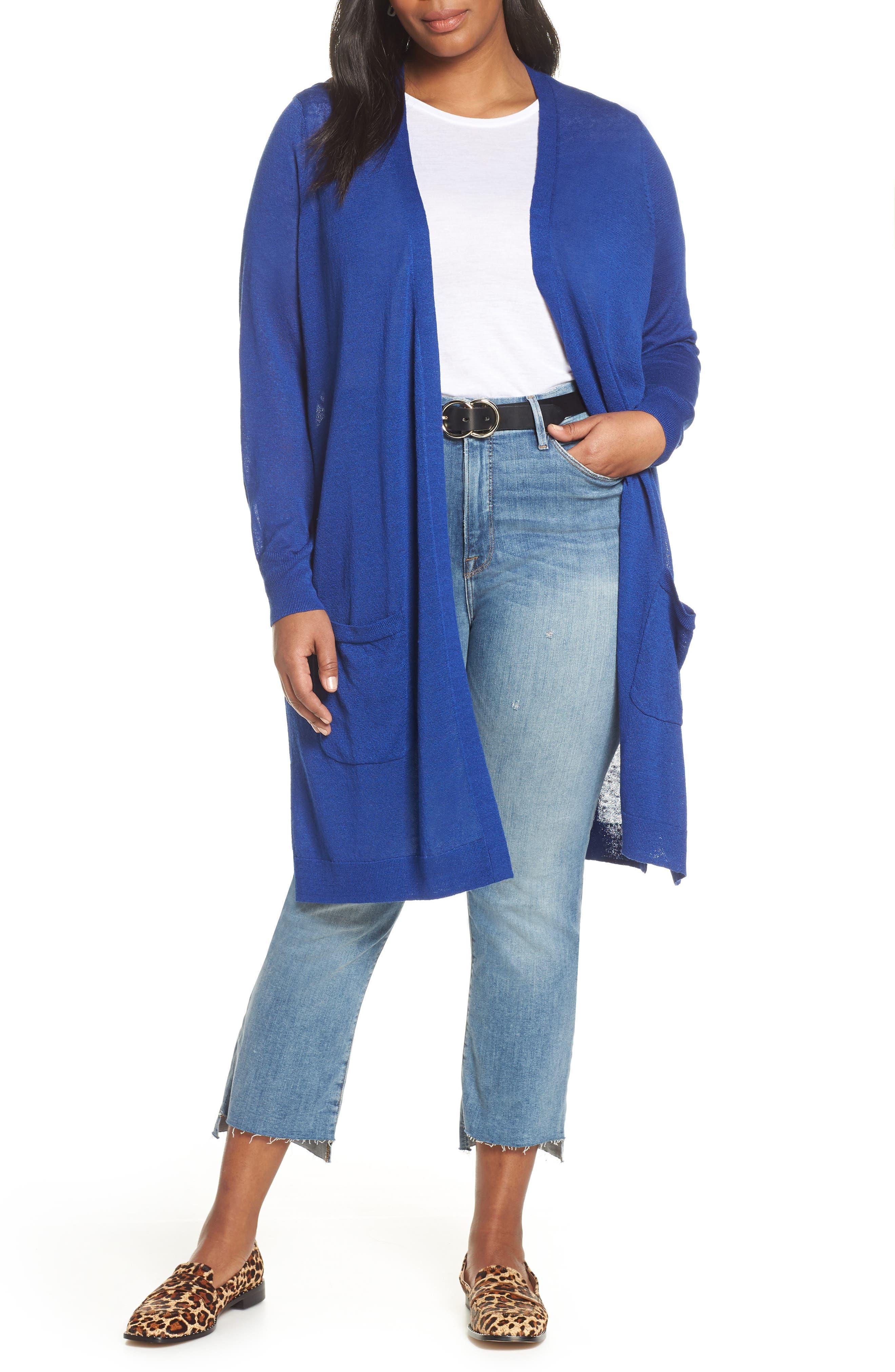 Long Cardigan,                             Main thumbnail 1, color,                             BLUE MAZARINE