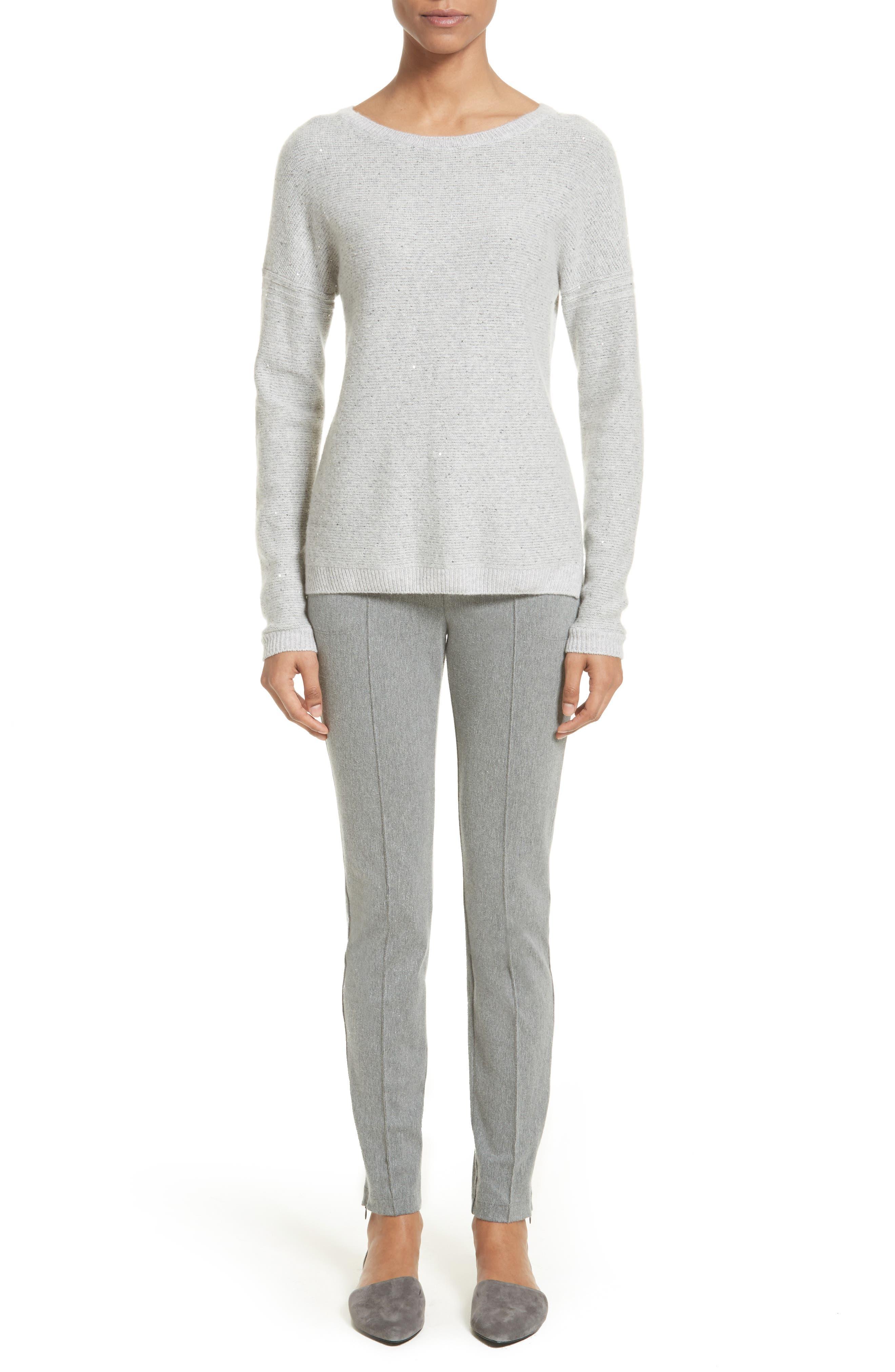Micro Sequin Stripe Reverse Jersey Cashmere Blend Sweater,                             Alternate thumbnail 6, color,                             060