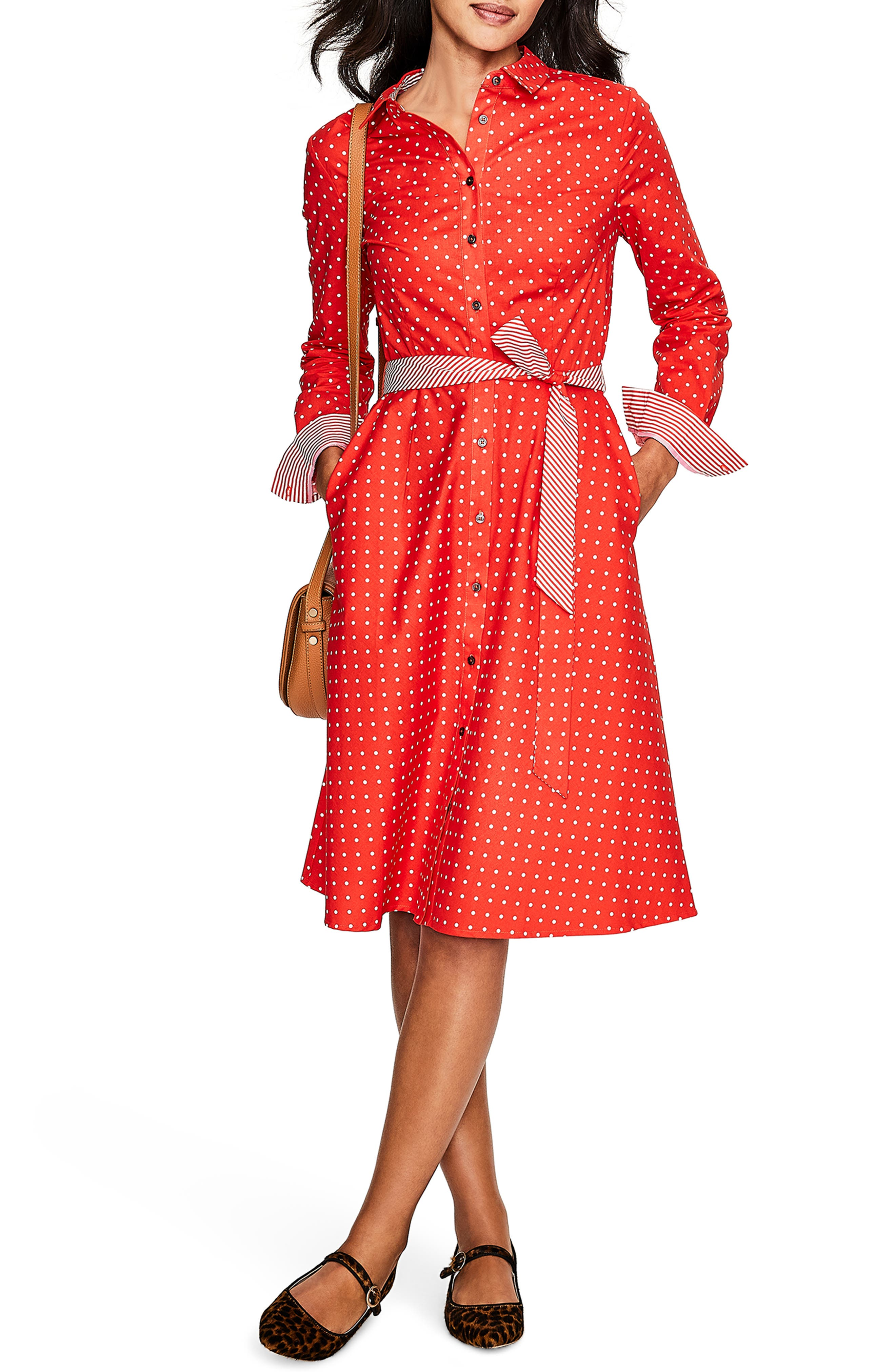 1960s Dresses | 60s Dresses Mod, Mini, Jackie O, Hippie Petite Womens Boden Posy Cotton Shirtdress Size 10P - Red $49.97 AT vintagedancer.com