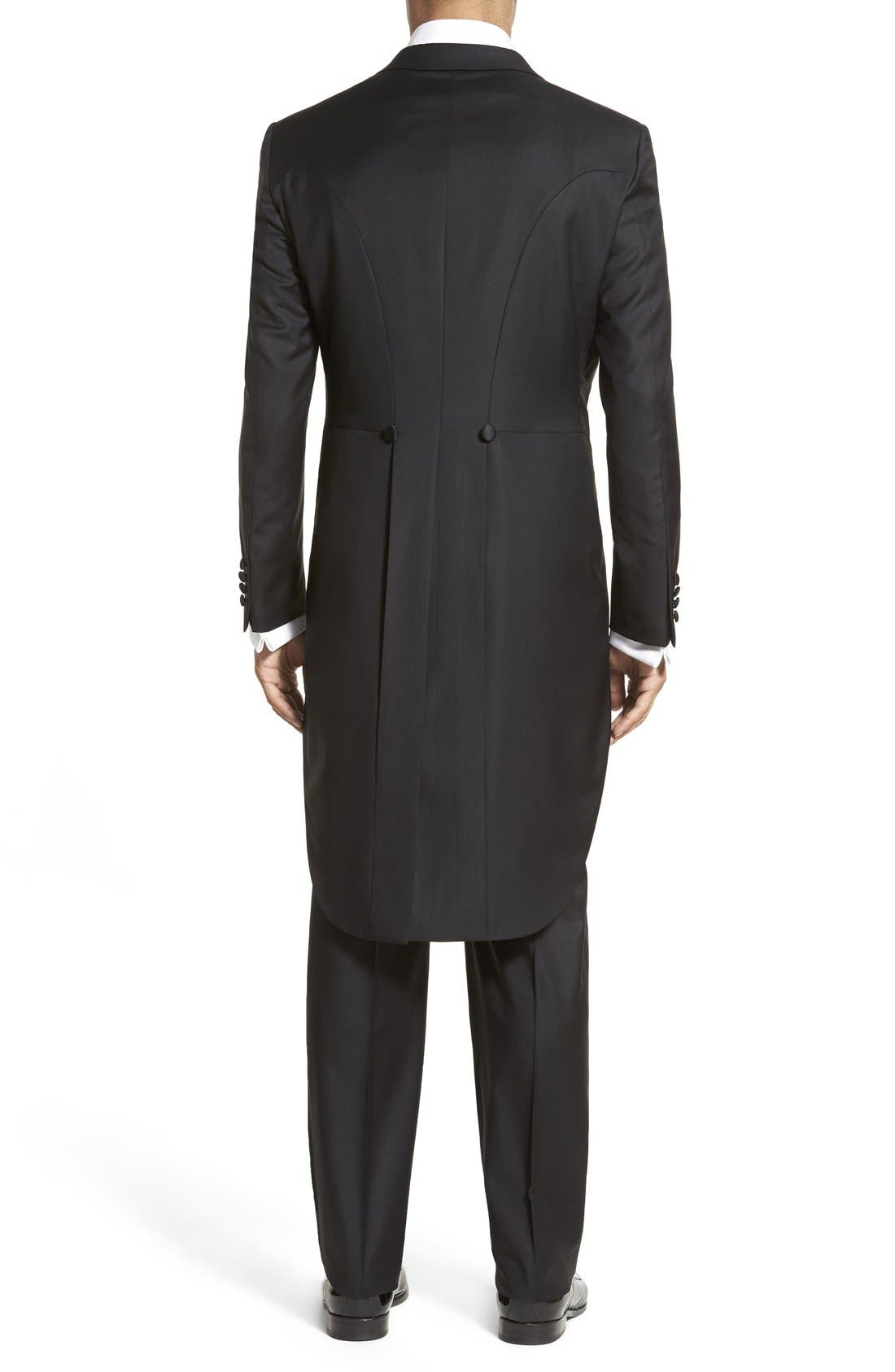 Classic B Fit Tasmanian Wool Tailcoat Tuxedo,                             Alternate thumbnail 2, color,                             BLACK