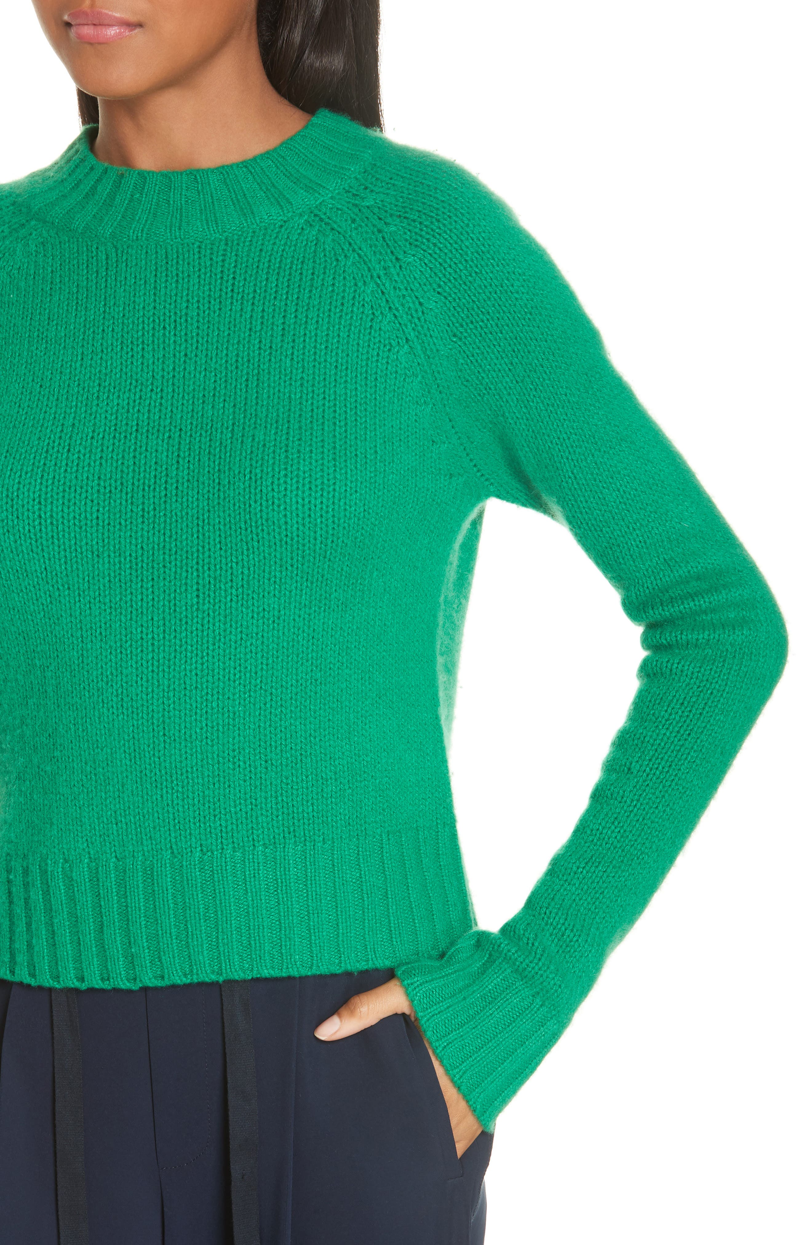 Shrunken Cashmere Sweater,                             Alternate thumbnail 4, color,                             LEAF