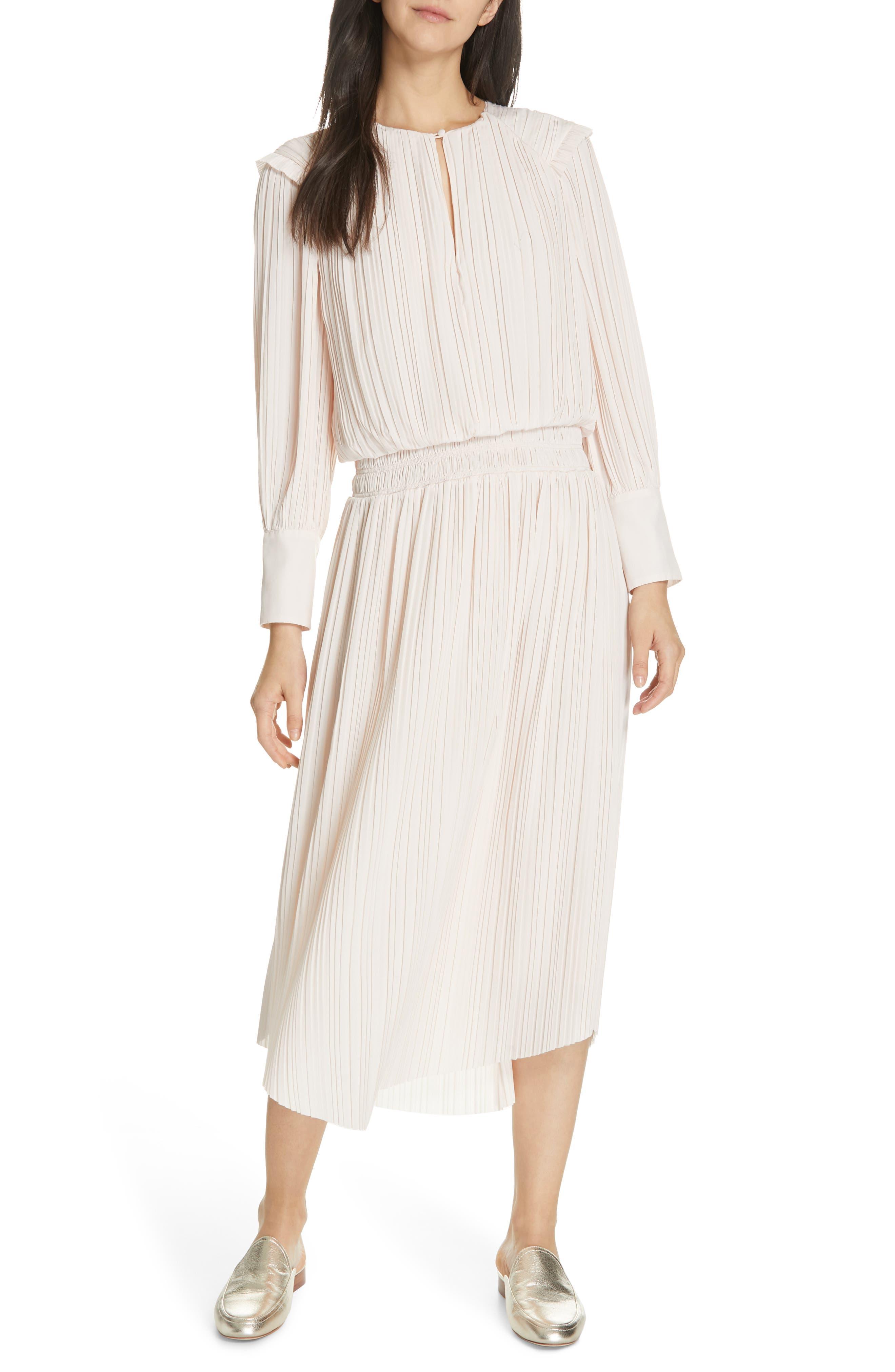 Joie Rheia Pleat Midi Dress, Beige