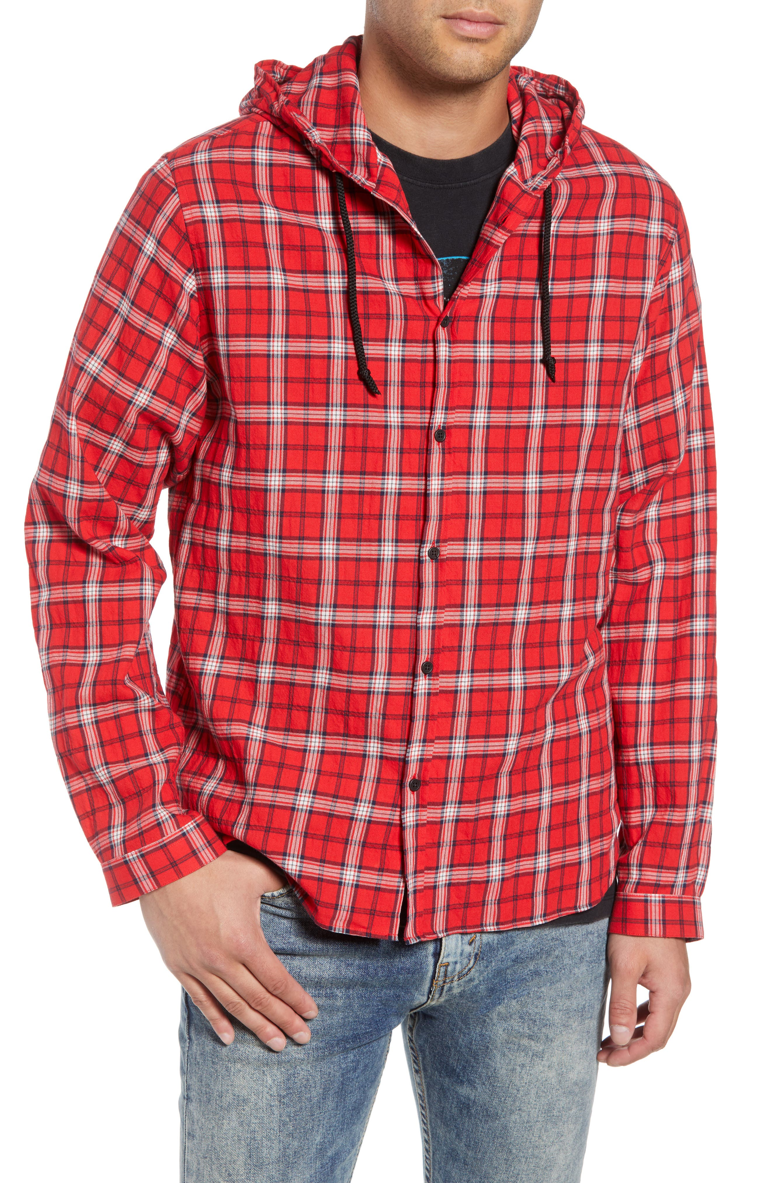 Checkered Classic Fit Hoodie Shirt Jacket,                         Main,                         color, 600