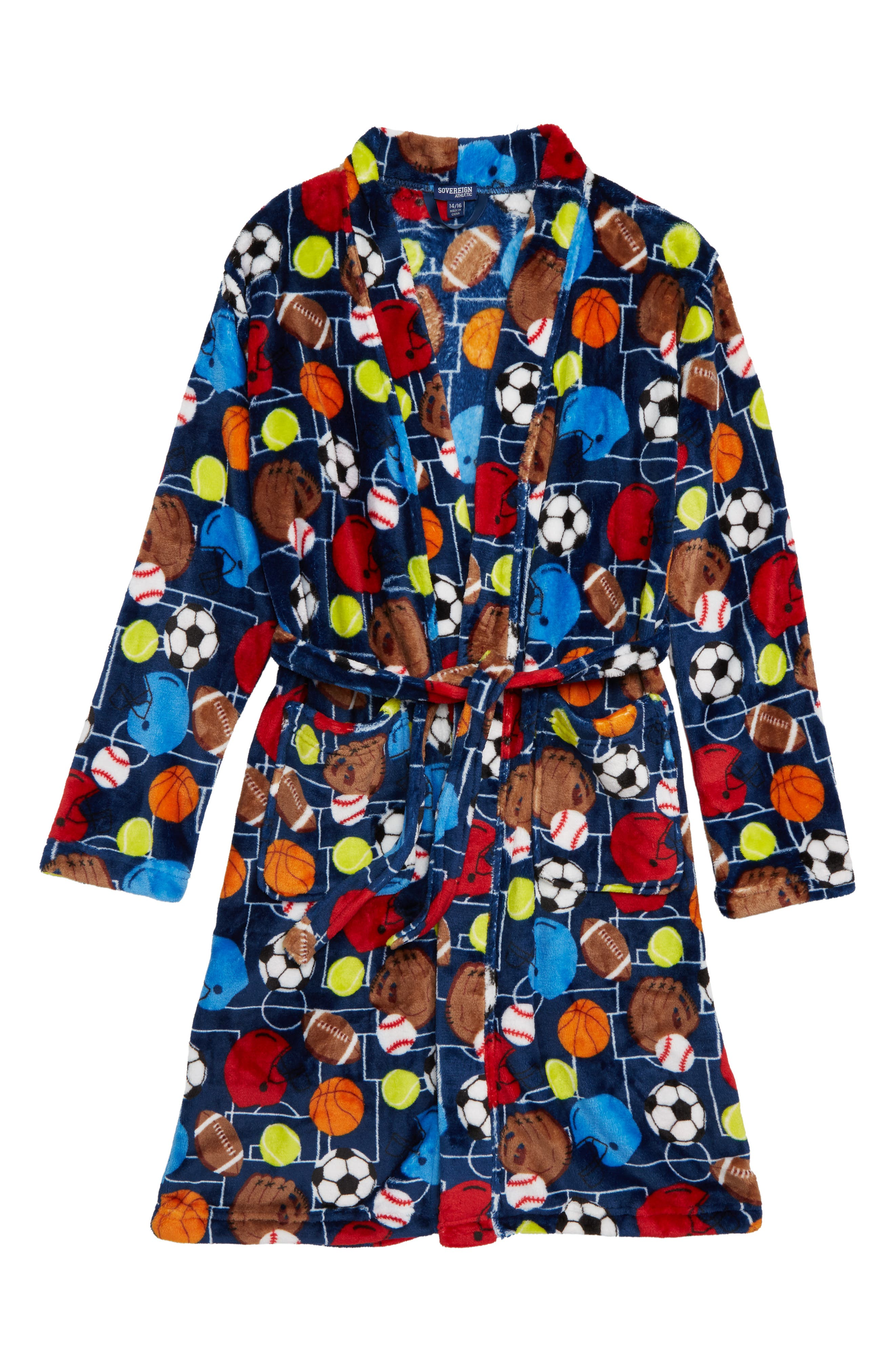 Sports Fleece Robe,                             Main thumbnail 1, color,                             NAVY