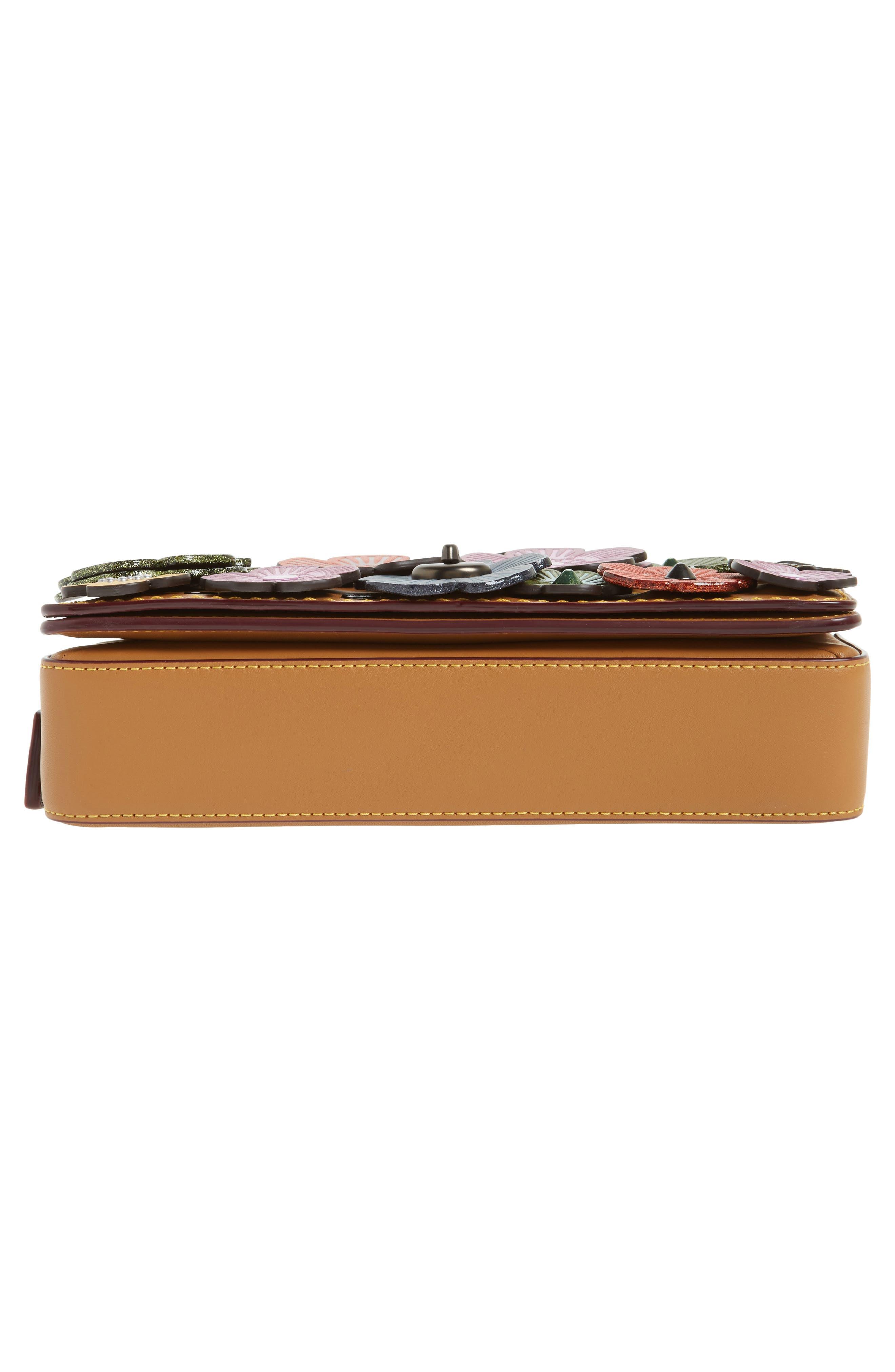 'Dinky' Flower Appliqué Leather Crossbody Bag,                             Alternate thumbnail 45, color,