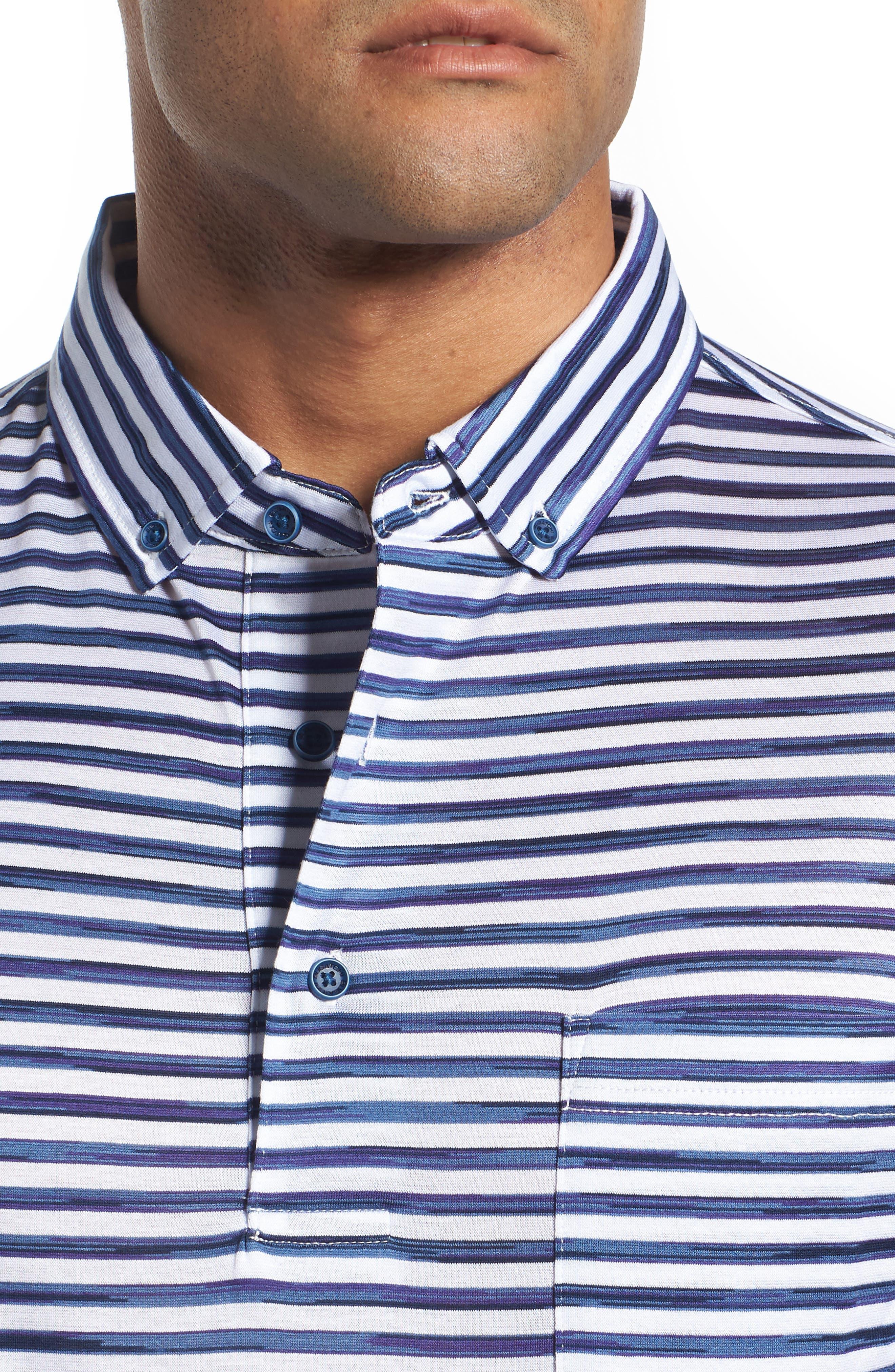 Stripe Knit Polo,                             Alternate thumbnail 4, color,                             WHITE