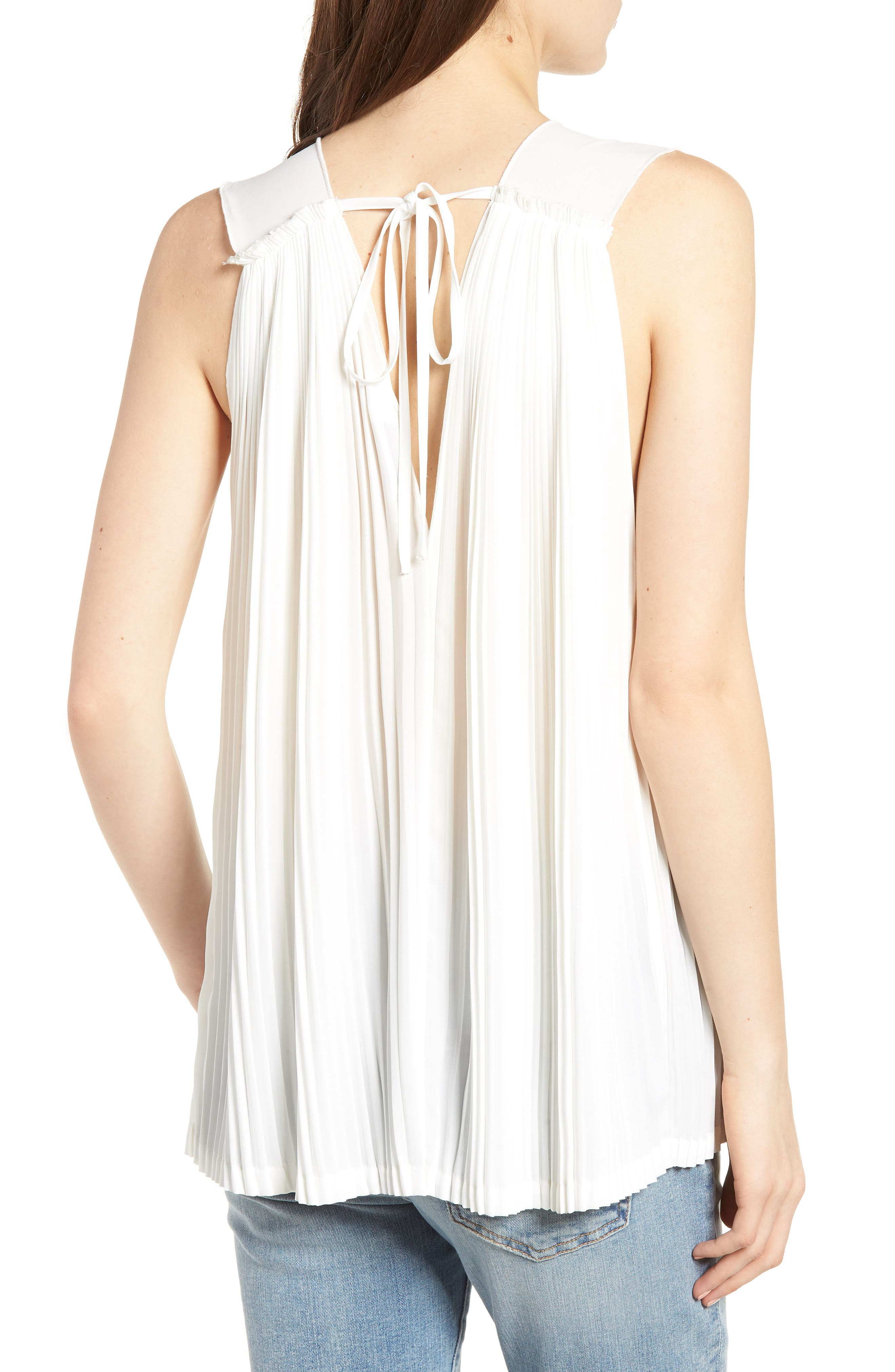 Bishop + Young Pleat Blouse,                             Alternate thumbnail 2, color,                             WHITE