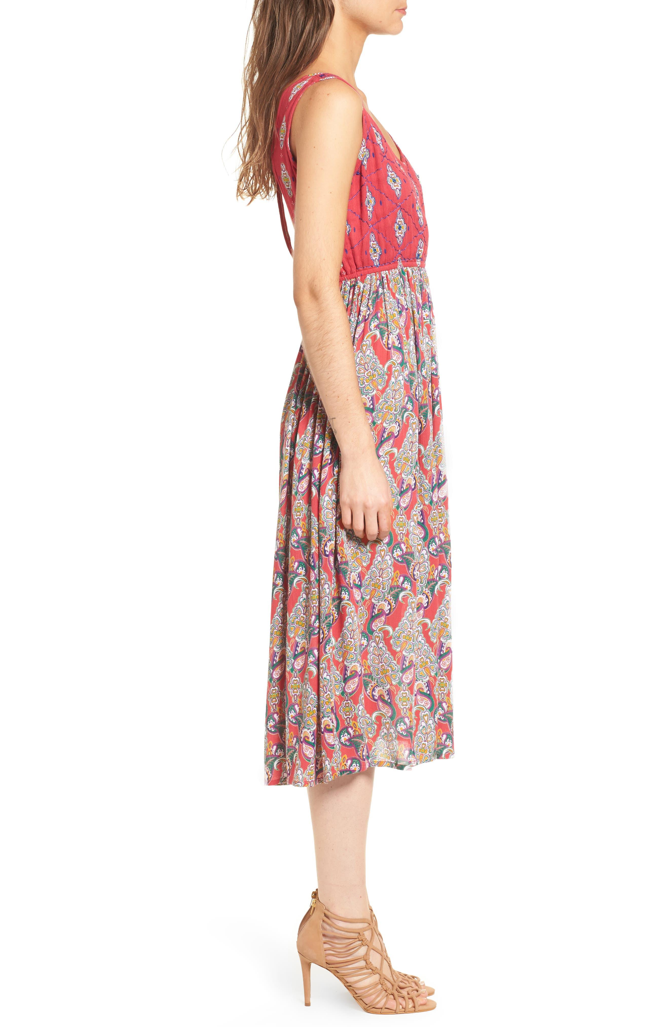 Alice Cut Out Back Midi Dress,                             Alternate thumbnail 3, color,                             645