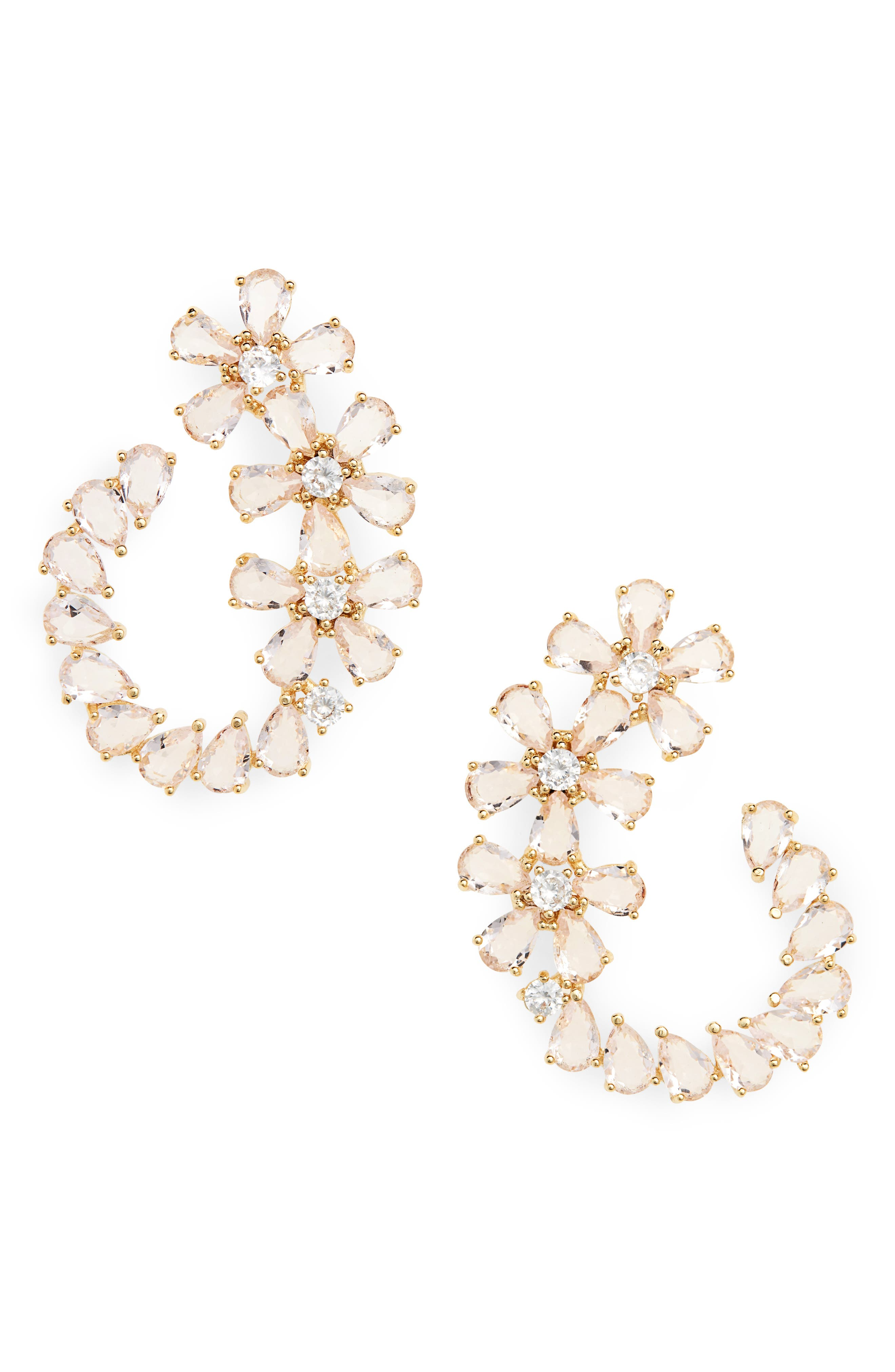 SEREFINA Ice Flower Statement Earrings in Gold
