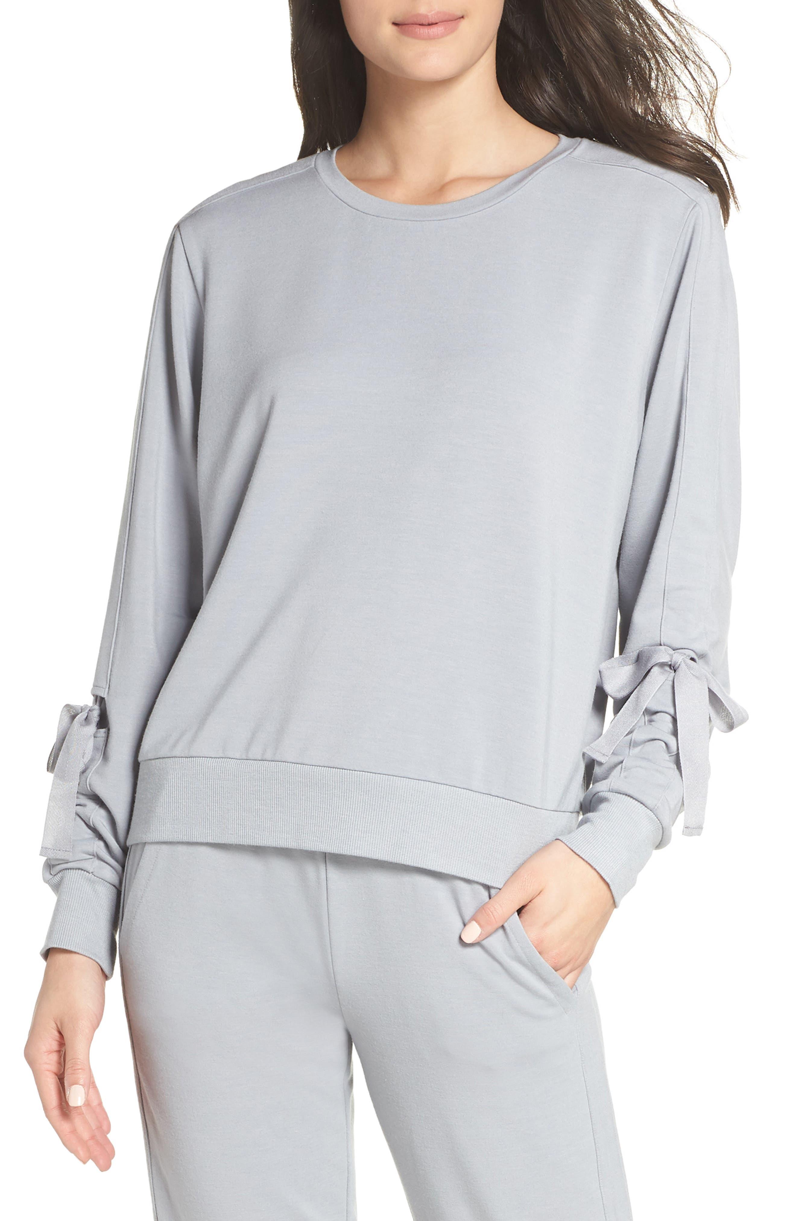 Gather Sleeve Sweatshirt,                             Main thumbnail 1, color,                             GREY WOLF