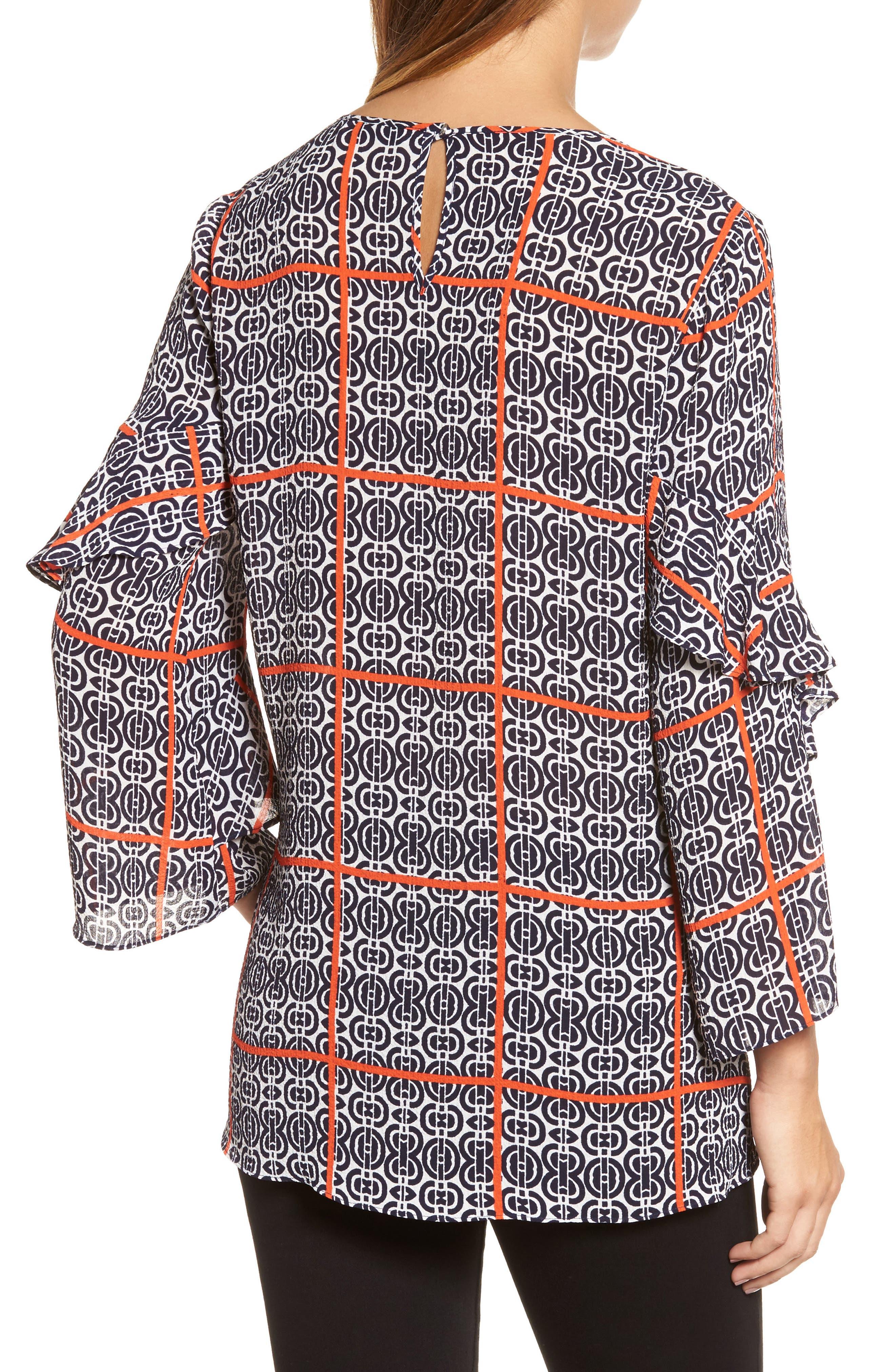 Printed Ruffle Sleeve Blouse,                             Alternate thumbnail 2, color,                             903