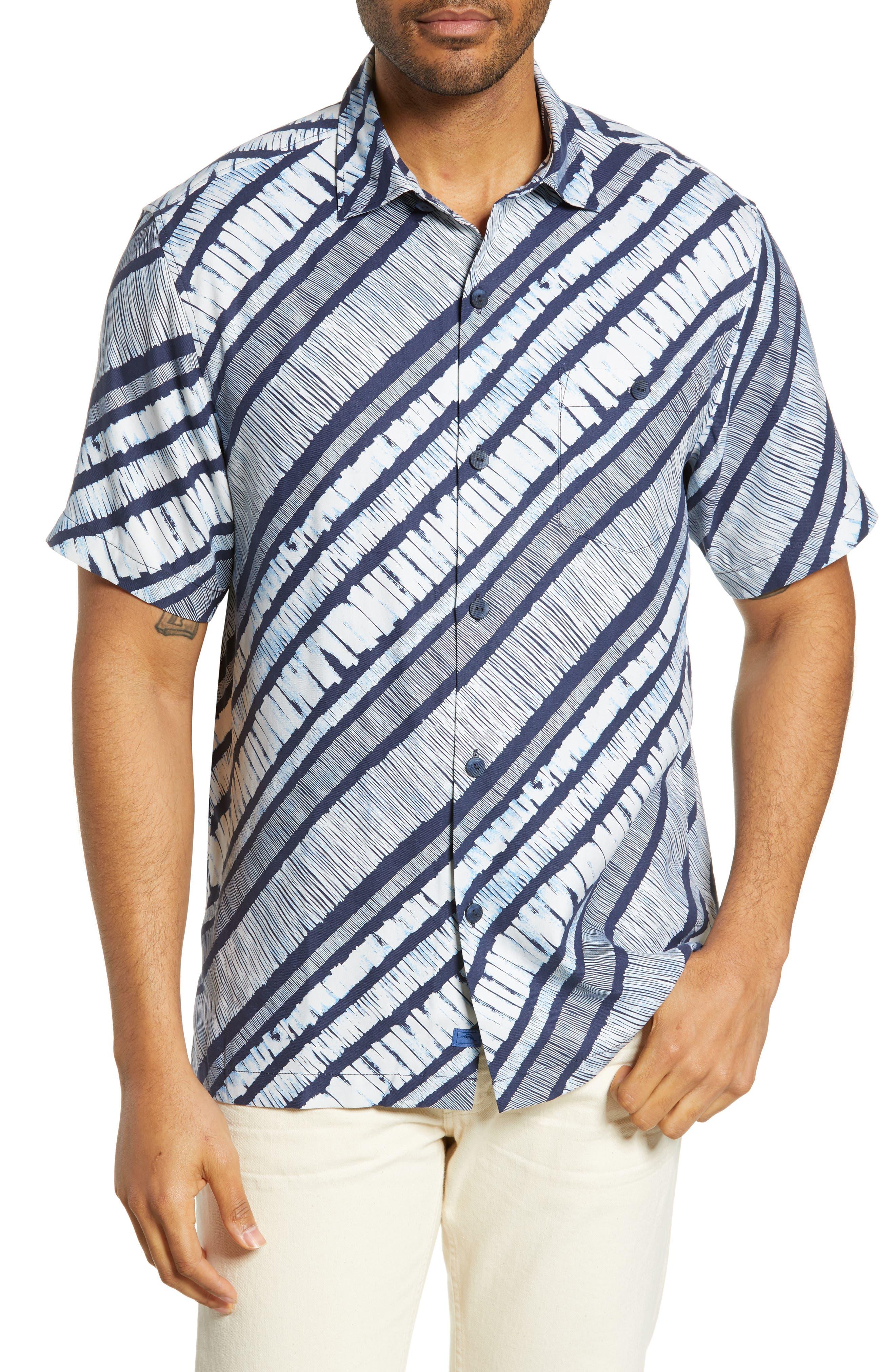 North Shore Winds Classic Fit Silk Camp Shirt, Main, color, OCEAN DEEP