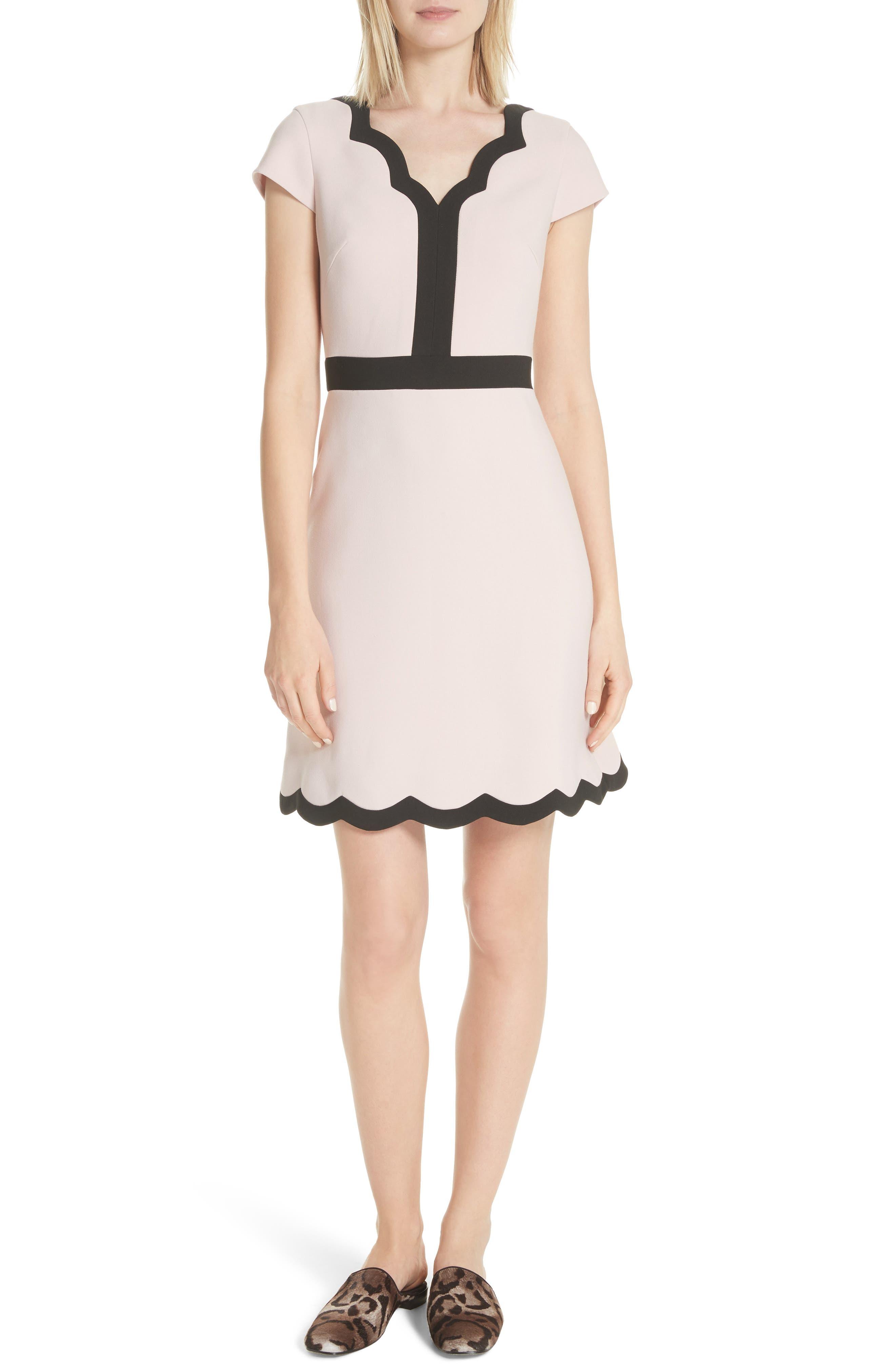 scallop cap sleeve dress,                             Main thumbnail 1, color,                             663