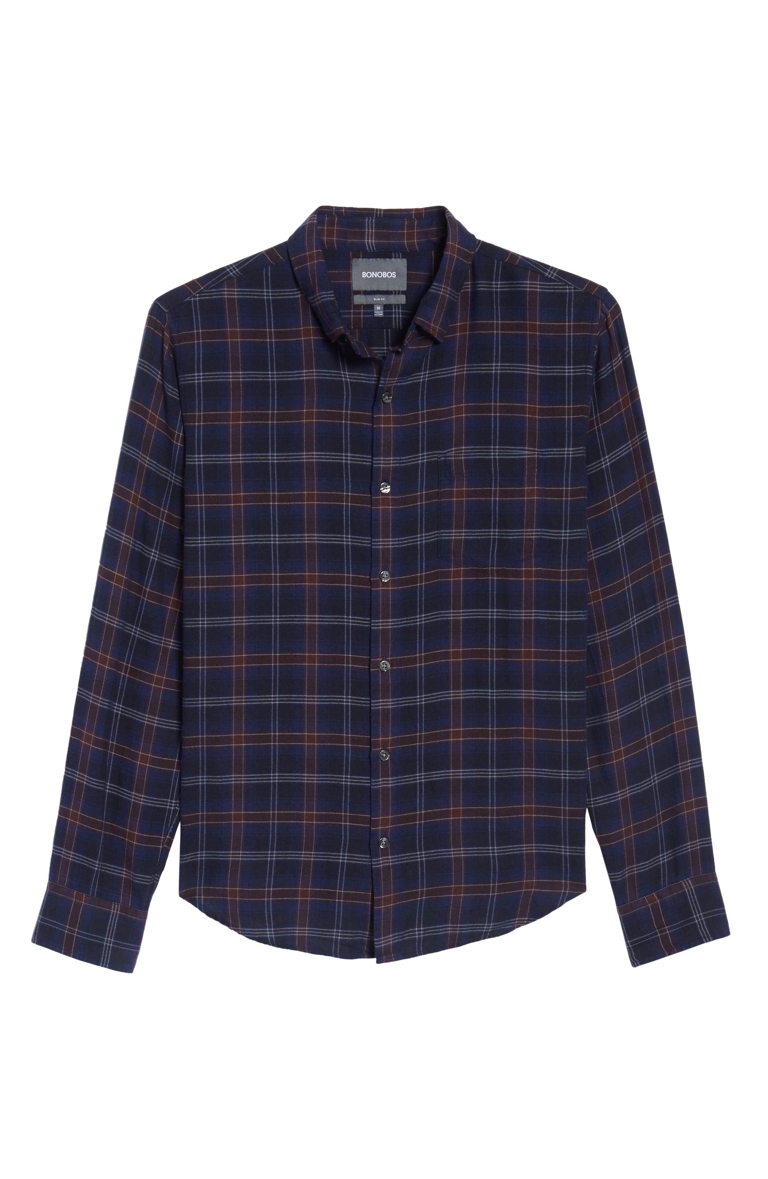 Slim Fit Check Brushed Twill Sport Shirt,                             Alternate thumbnail 6, color,                             404