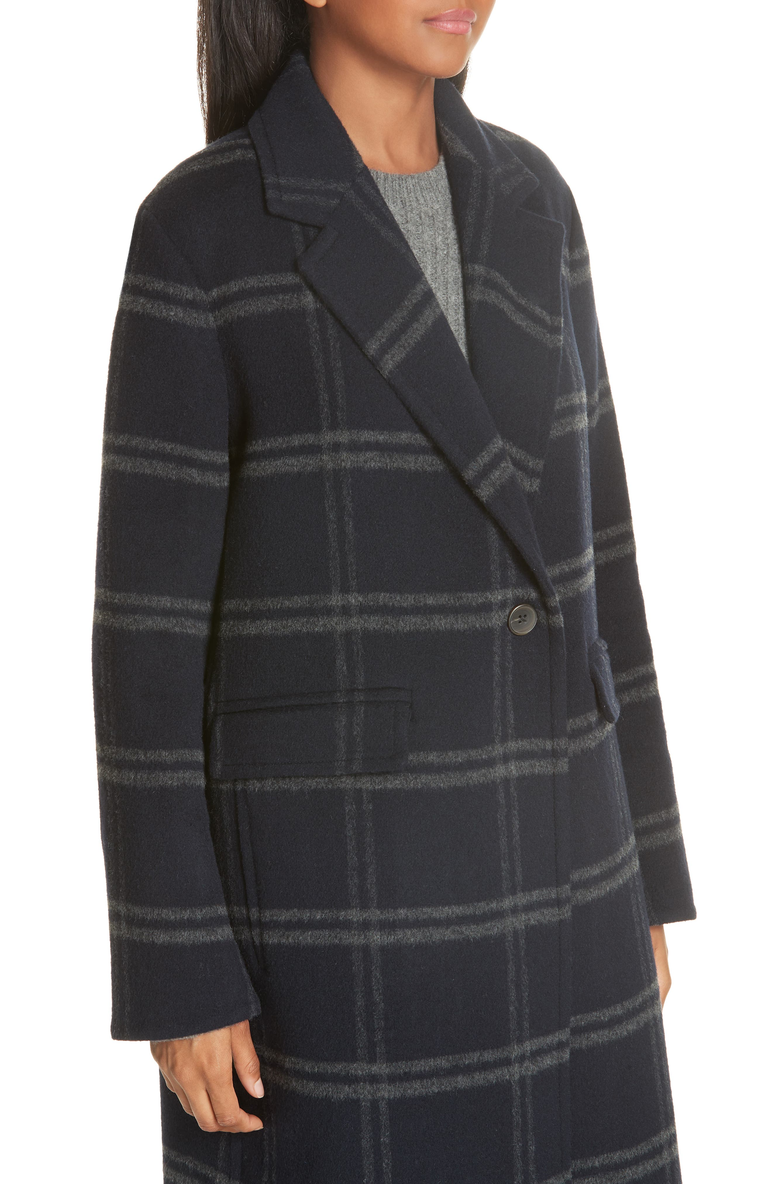 Shadow Plaid Coat,                             Alternate thumbnail 4, color,                             COASTAL/ GREY