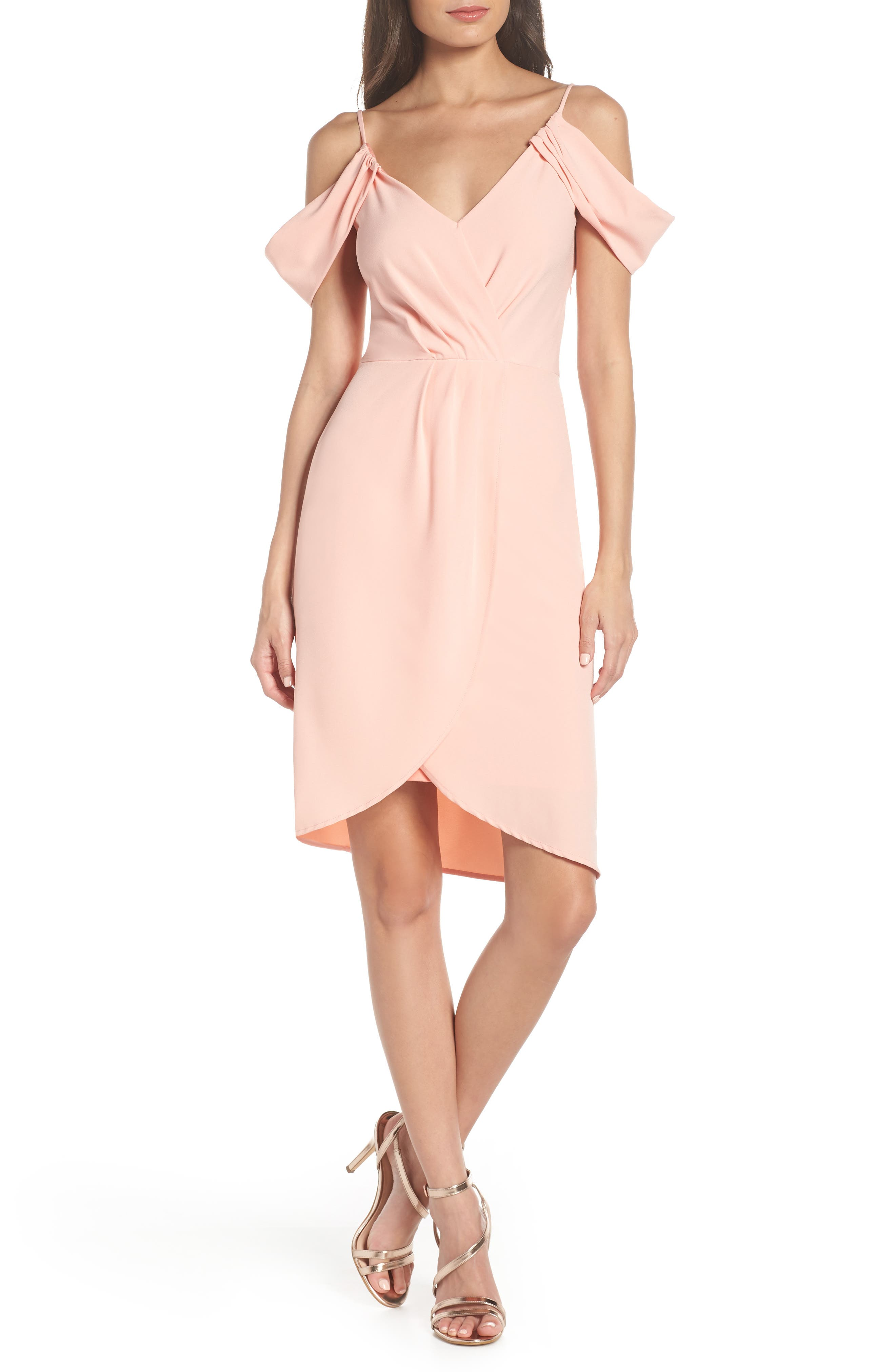 Fraiche By J Cold Shoulder Tulip Hem Dress, Pink