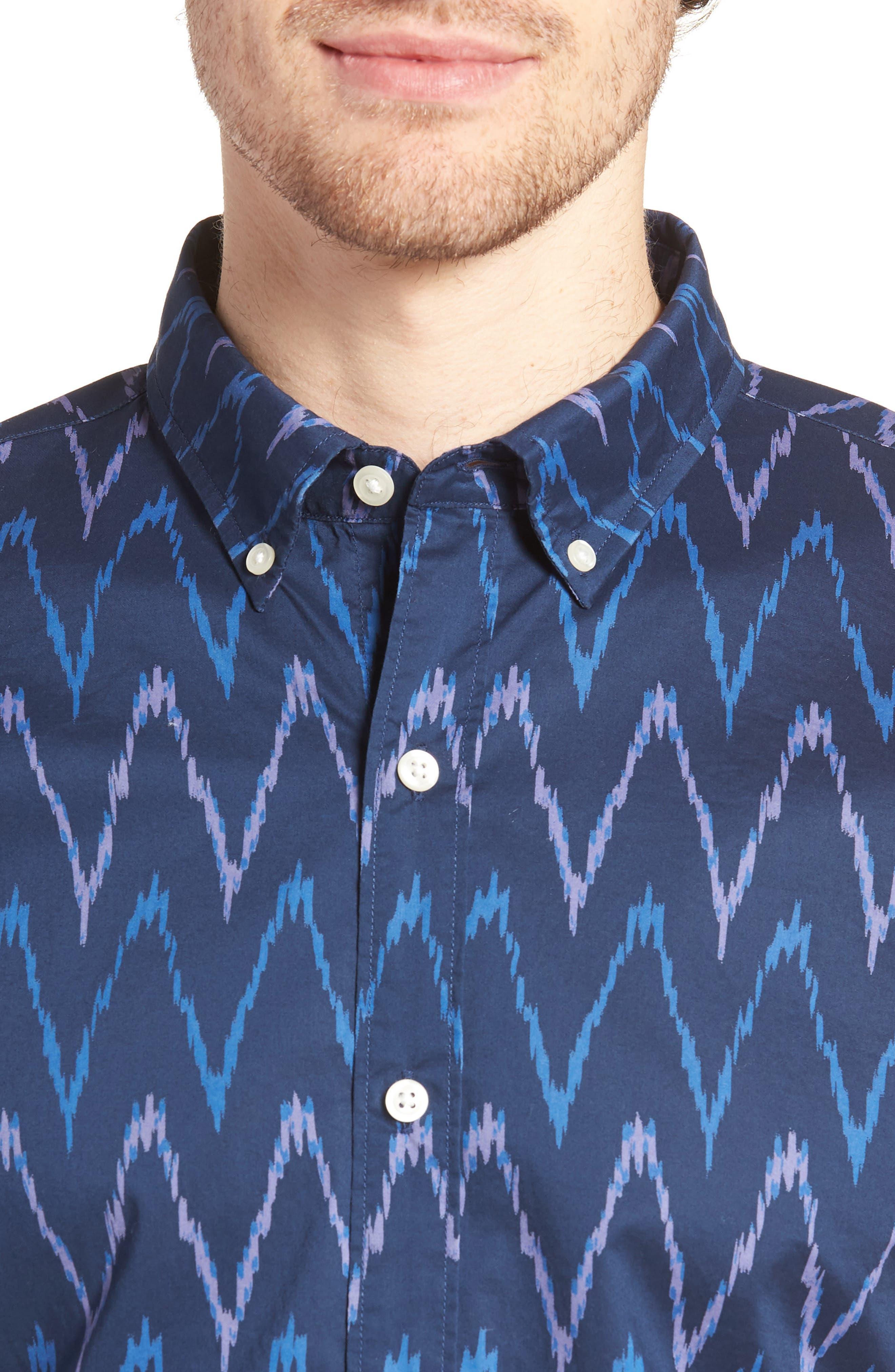Riviera Slim Fit Ikat Print Sport Shirt,                             Alternate thumbnail 4, color,                             PRINTED IKAT - DEEP PACIFIC