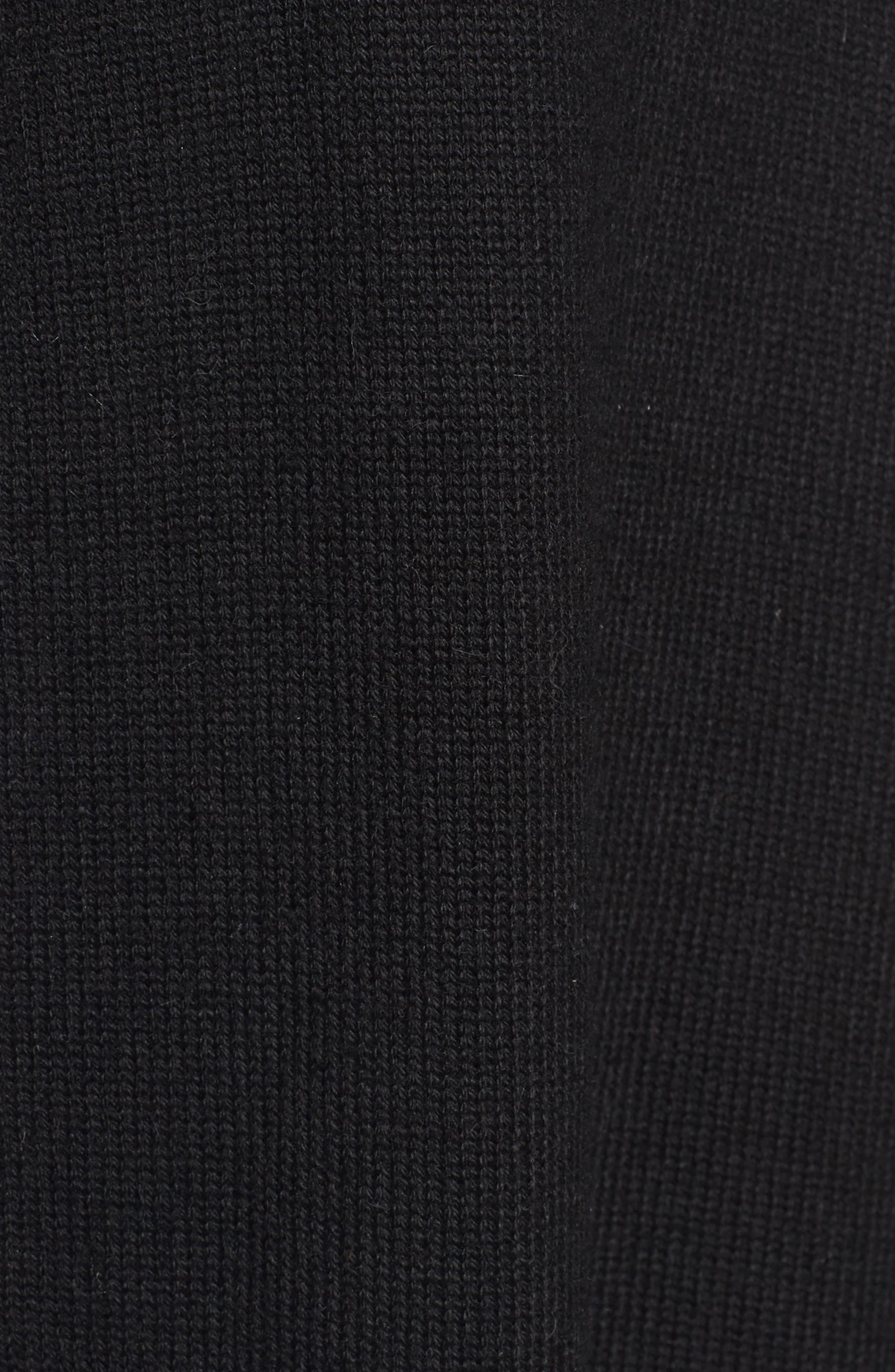 Knit Poncho with Faux Fur Trim,                             Alternate thumbnail 6, color,                             001