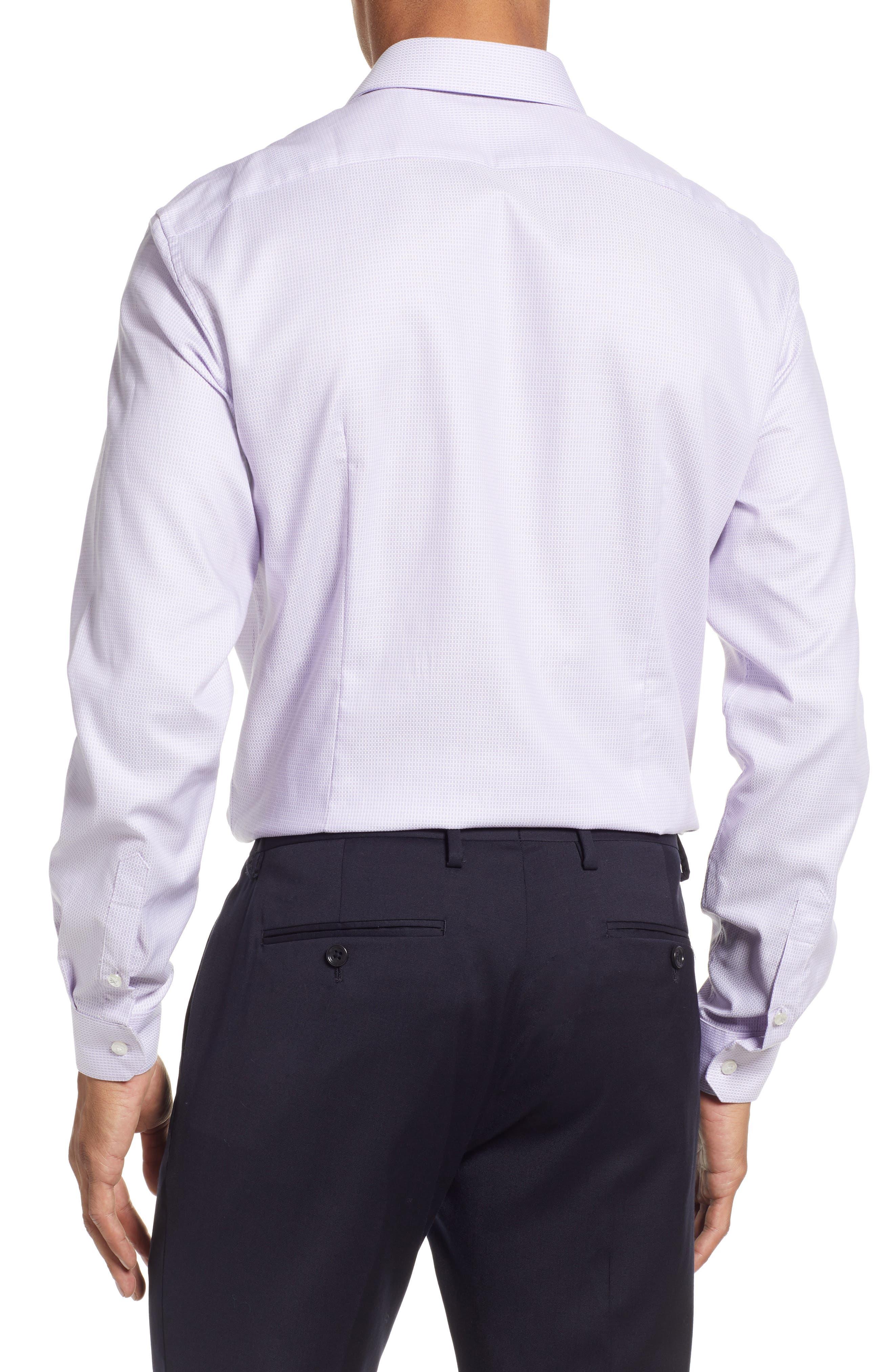 Slim Fit Stretch Check Dress Shirt,                             Alternate thumbnail 3, color,                             LAVENDER