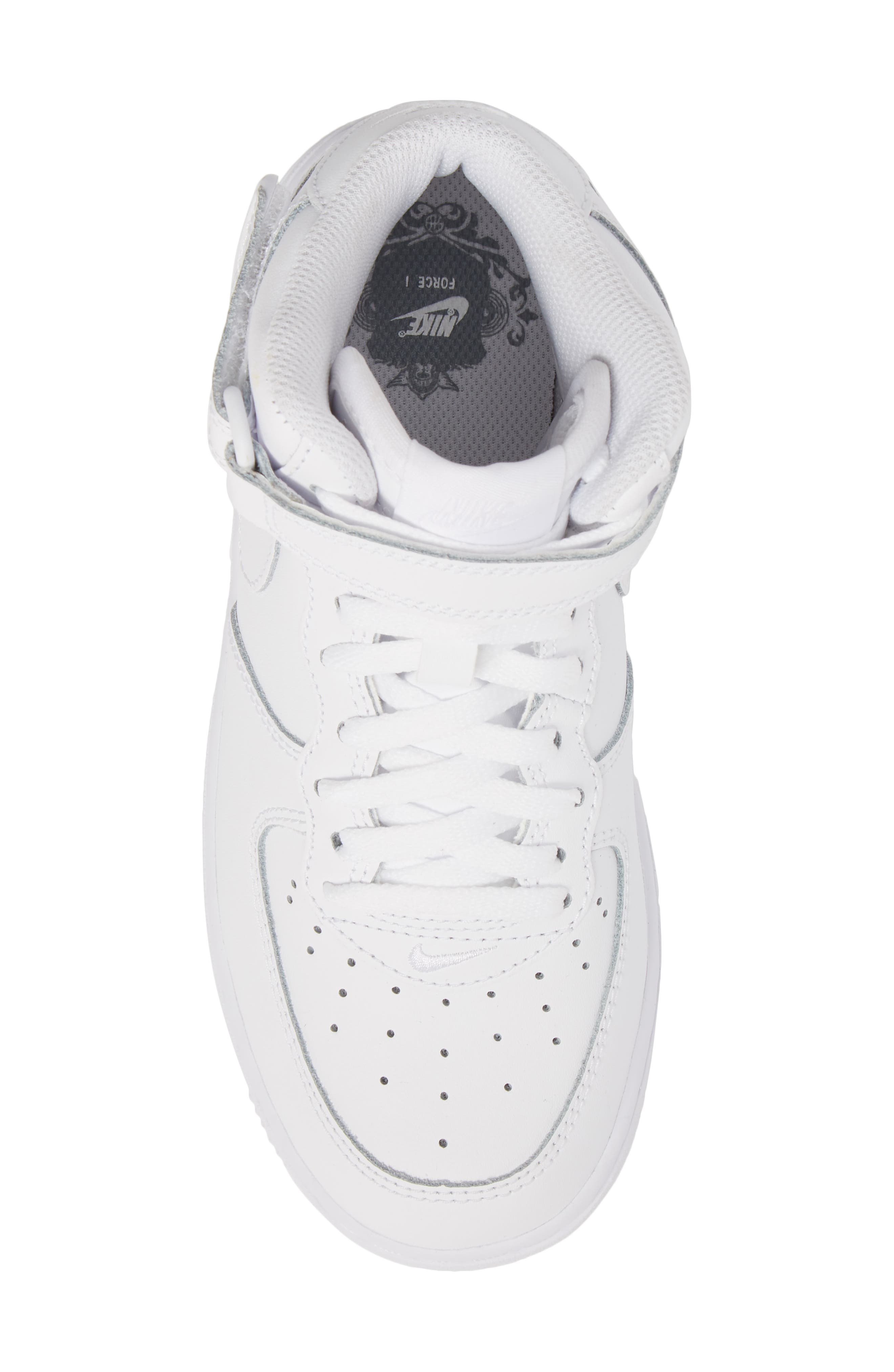NIKE,                             Air Force 1 Mid Sneaker,                             Alternate thumbnail 5, color,                             WHITE/ WHITE