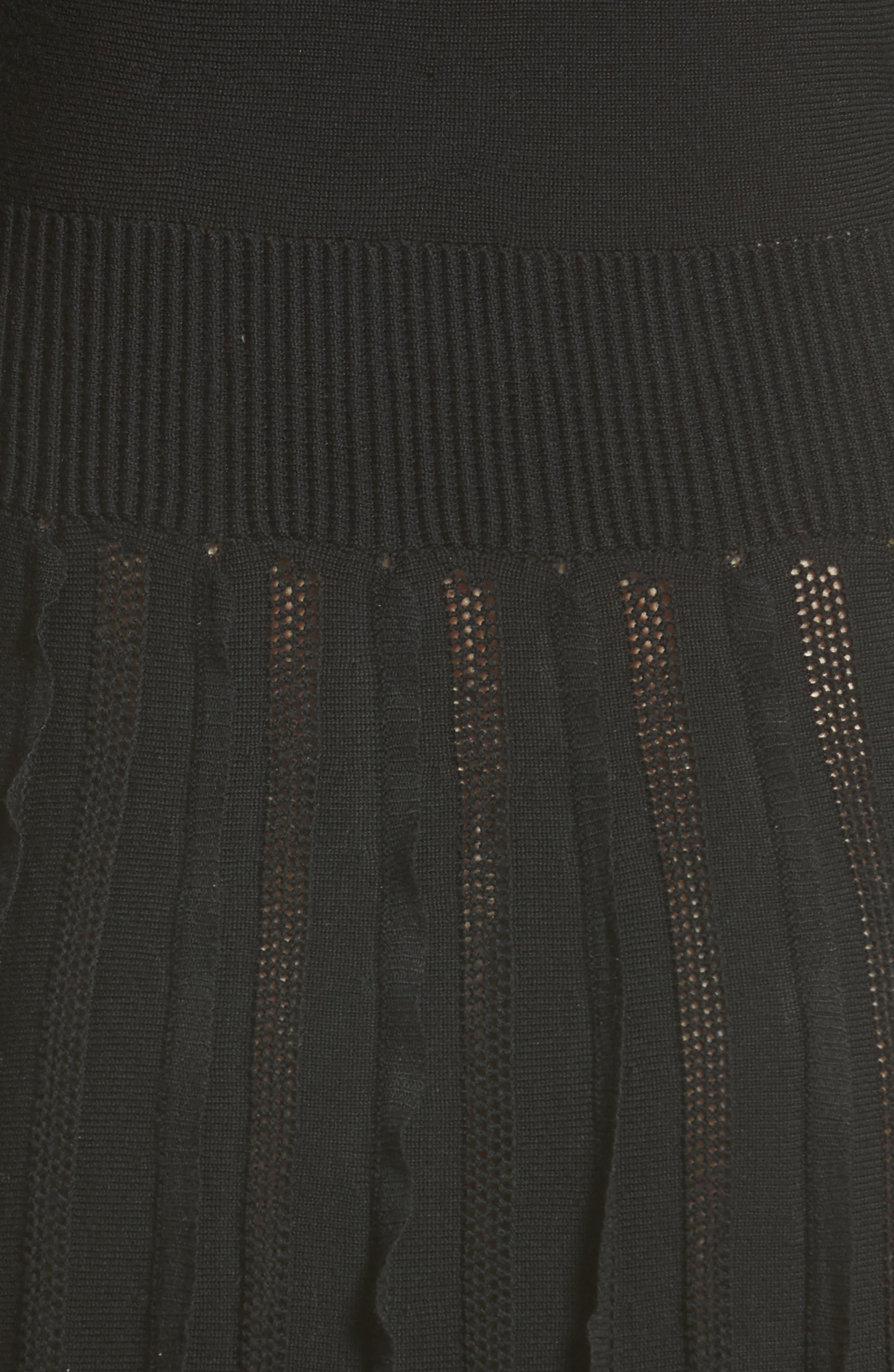 Ruffle Skirt Wool Knit Dress,                             Alternate thumbnail 5, color,                             001
