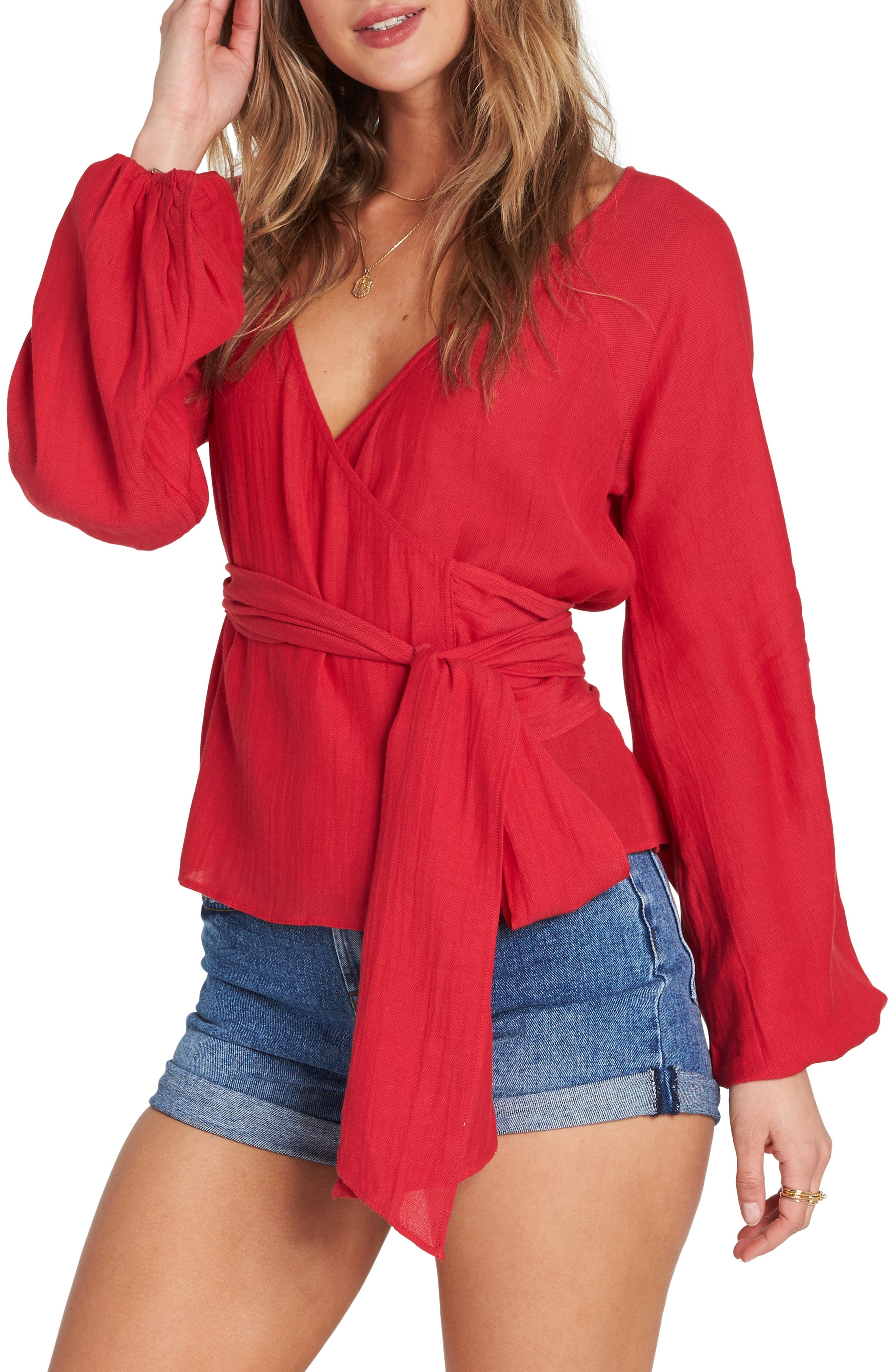 Shine On Bell Sleeve Wrap Top,                             Alternate thumbnail 3, color,                             600