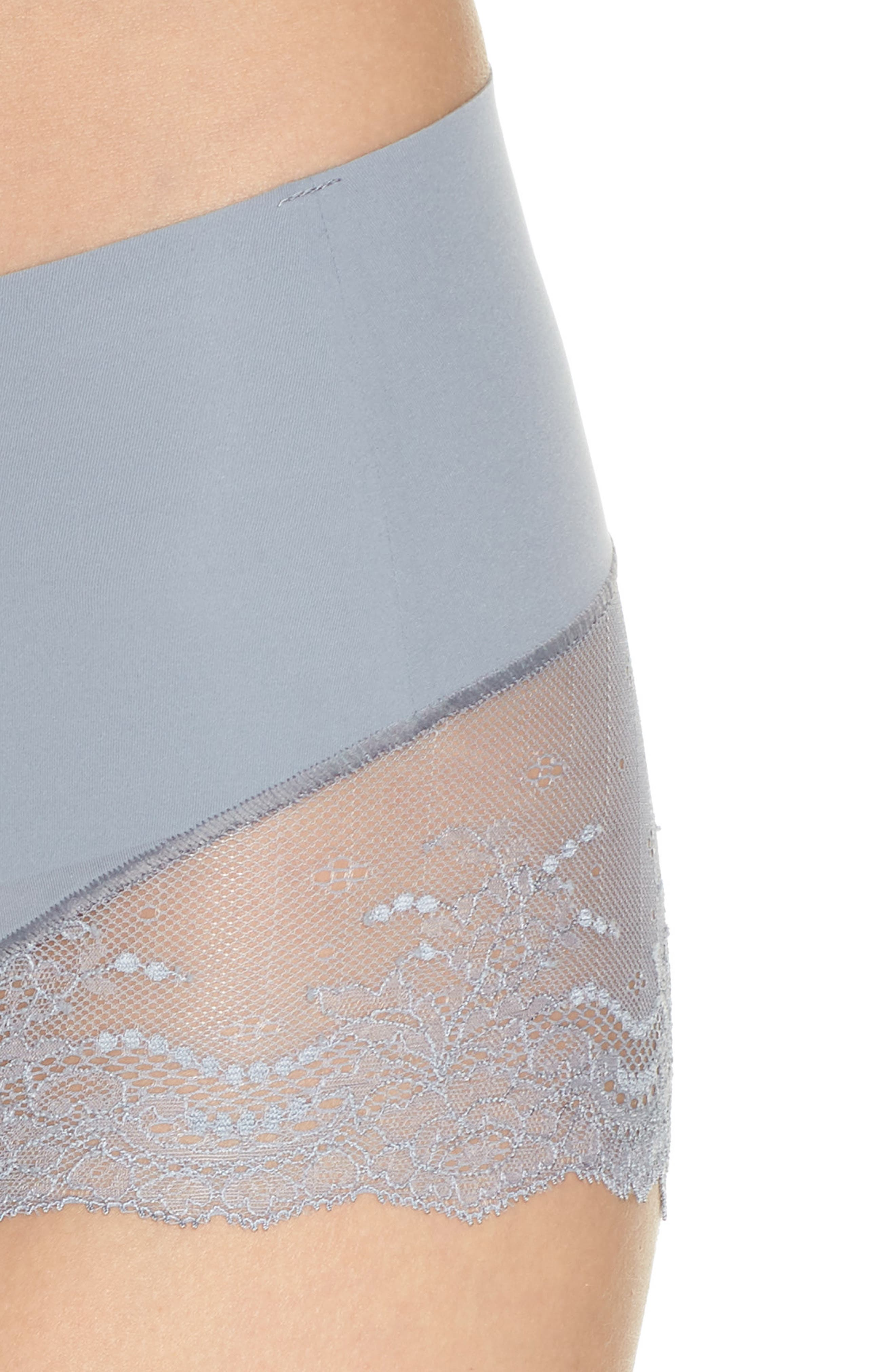 Undie-tectable Lace Hipster Panties,                             Alternate thumbnail 4, color,                             FOG GREY