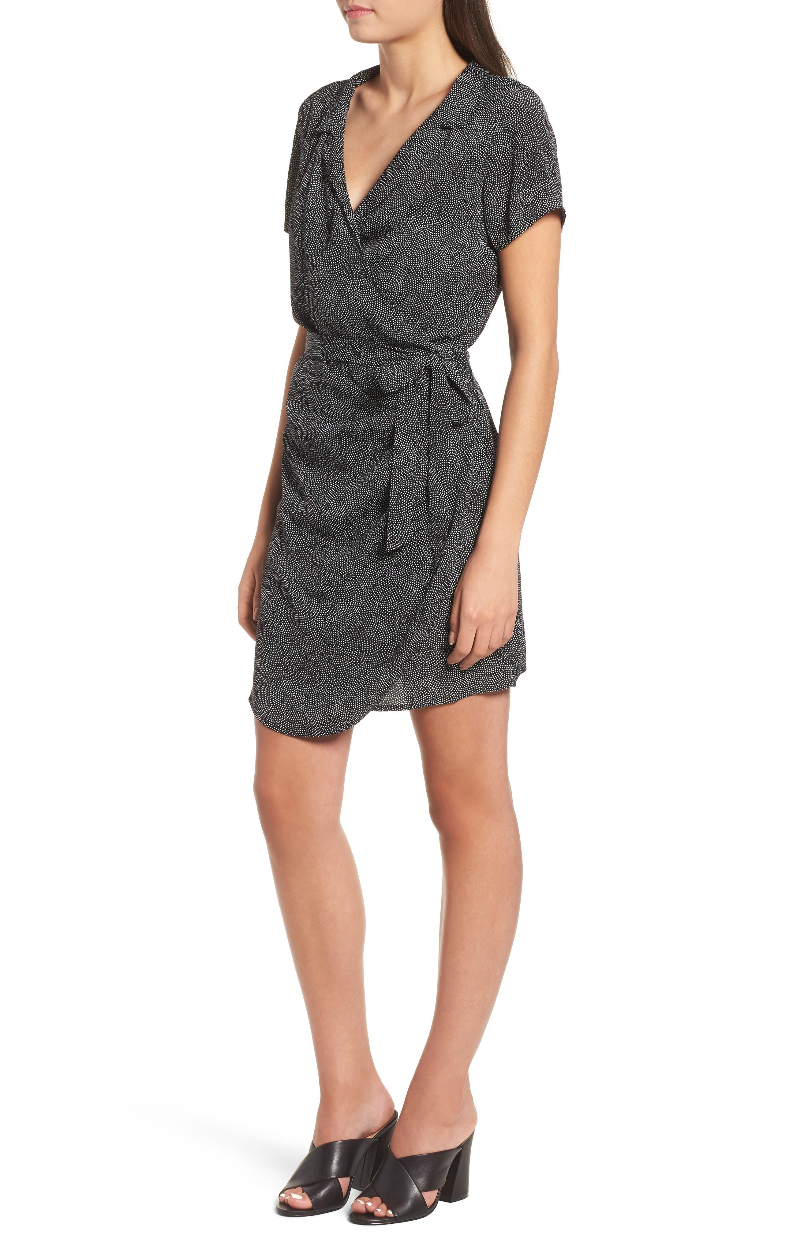 Print Wrap Dress,                             Alternate thumbnail 3, color,                             BLACK CONFETTI PARTY