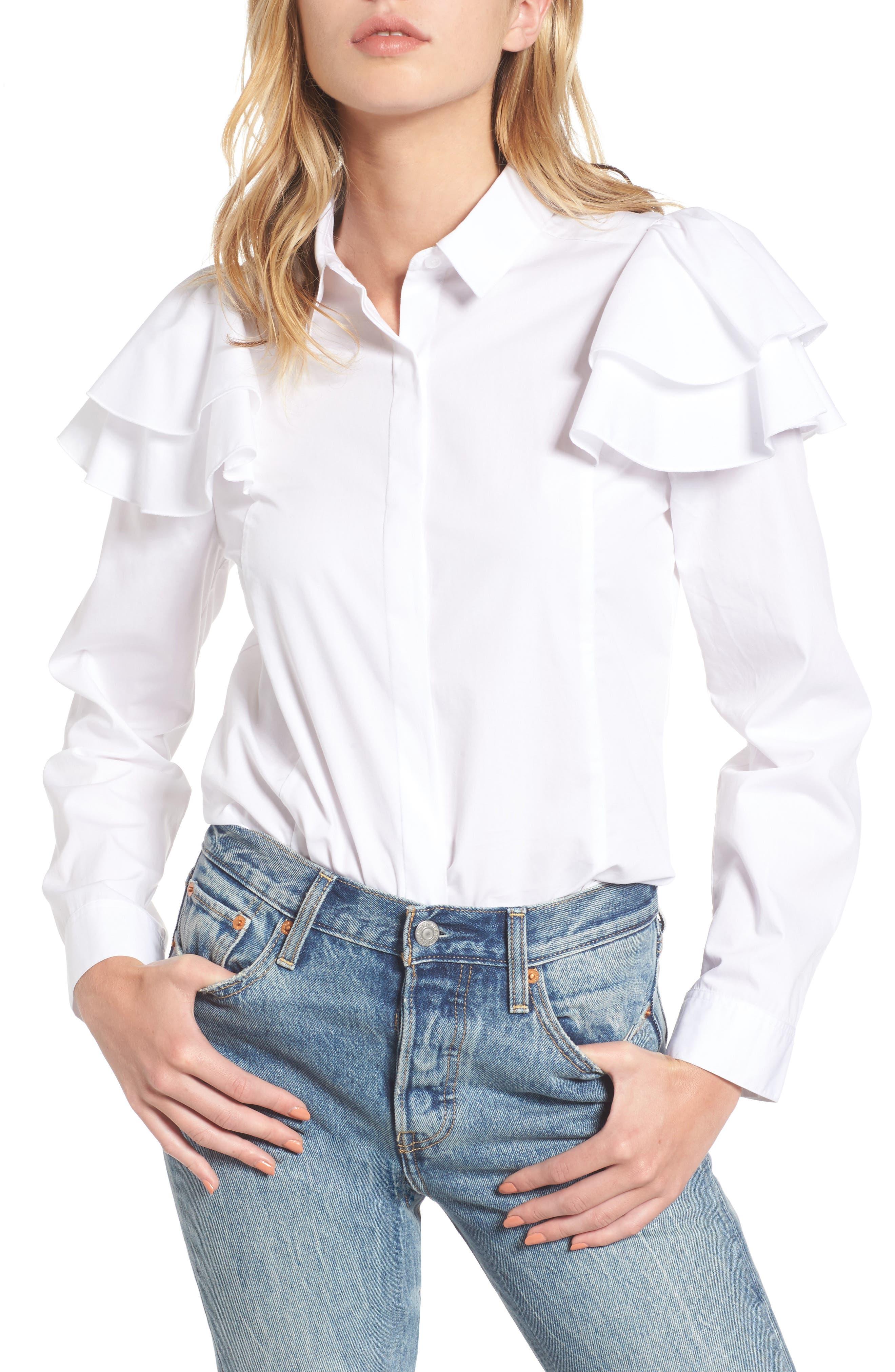 Ruffle Shoulder Shirt,                         Main,                         color, 100
