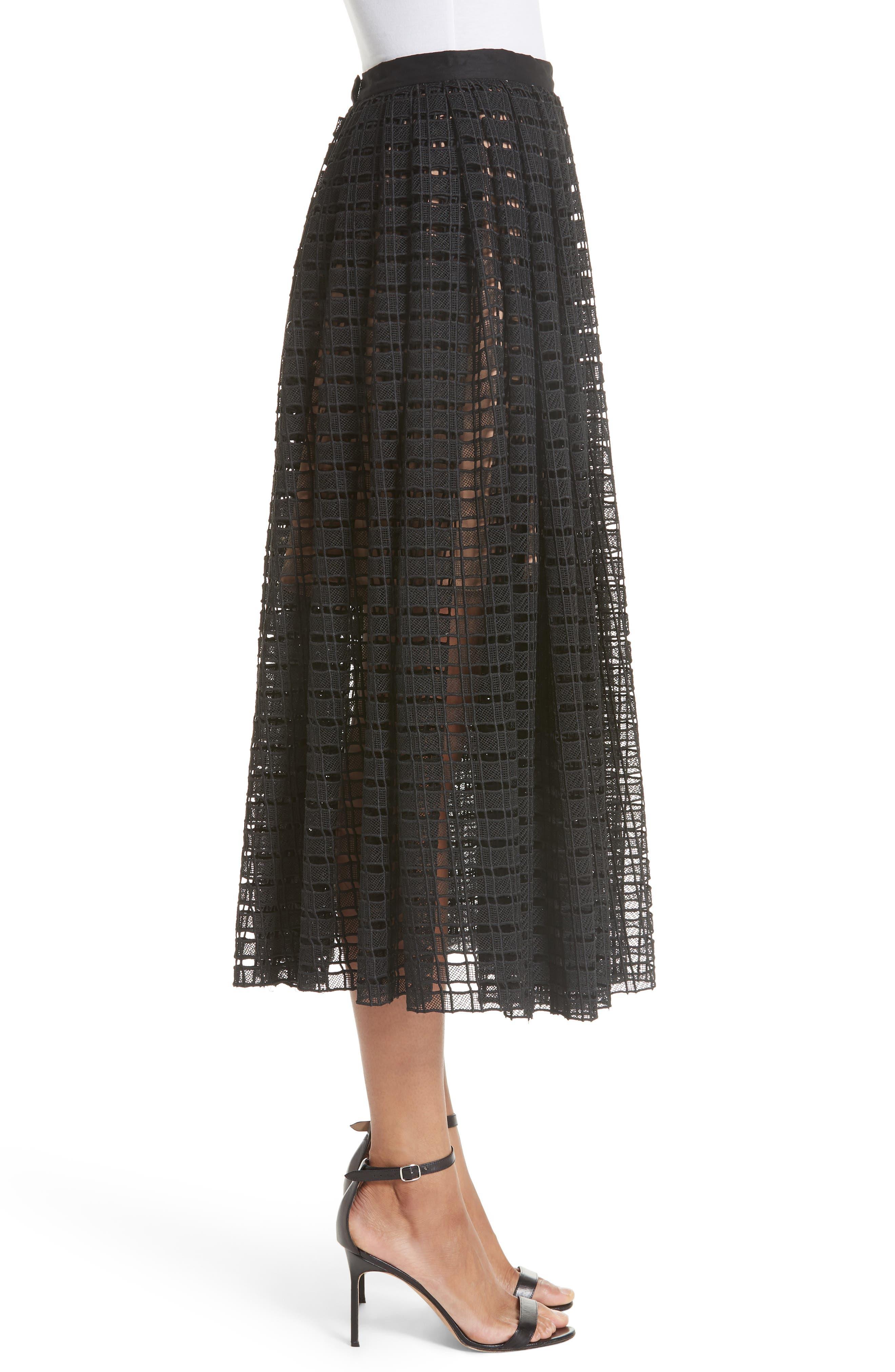 Lace Mesh Midi Skirt,                             Alternate thumbnail 3, color,                             001
