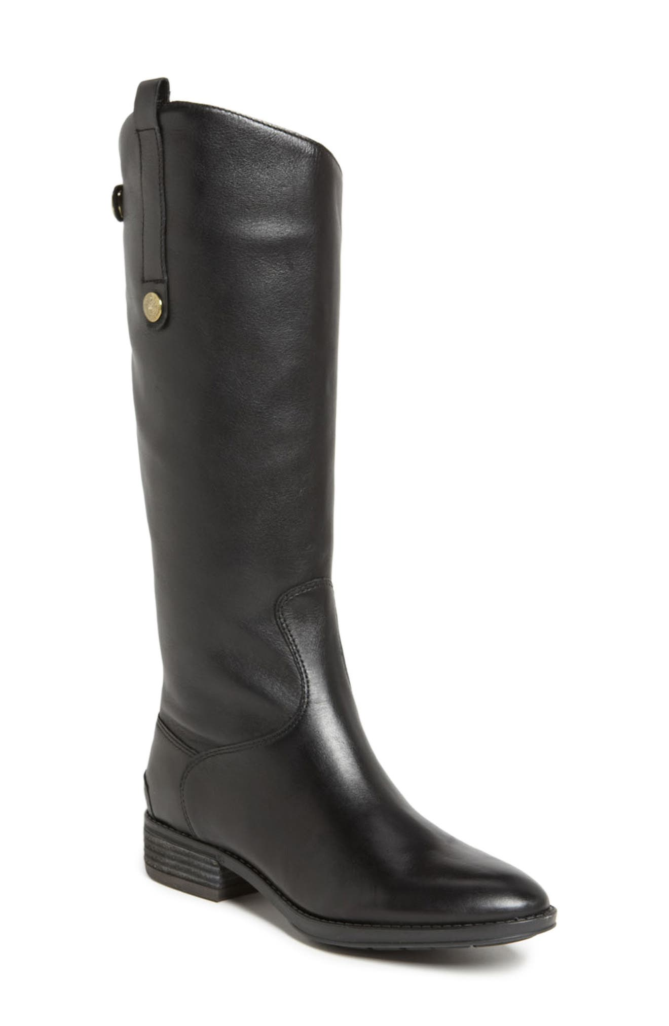 Penny Boot,                             Main thumbnail 1, color,                             BLACK WIDE CALF