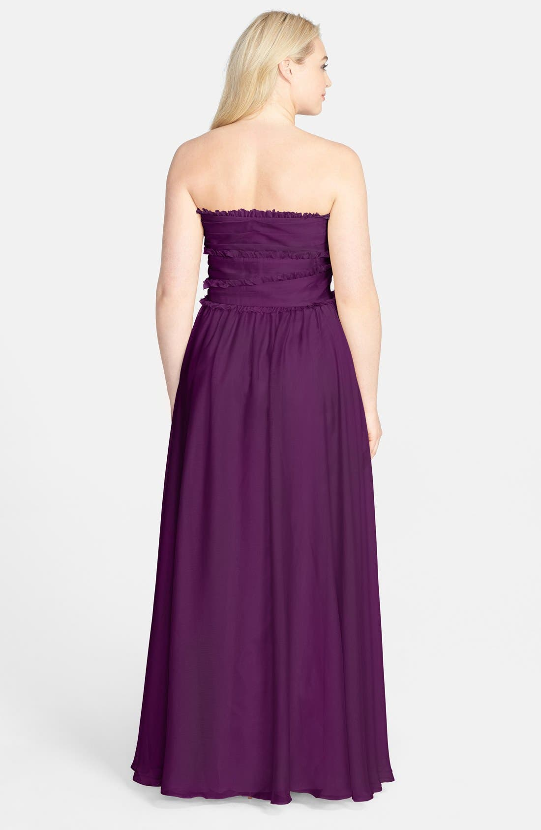 ML Monique Lhuillier Bridesmaids Strapless Chiffon Gown,                             Alternate thumbnail 27, color,