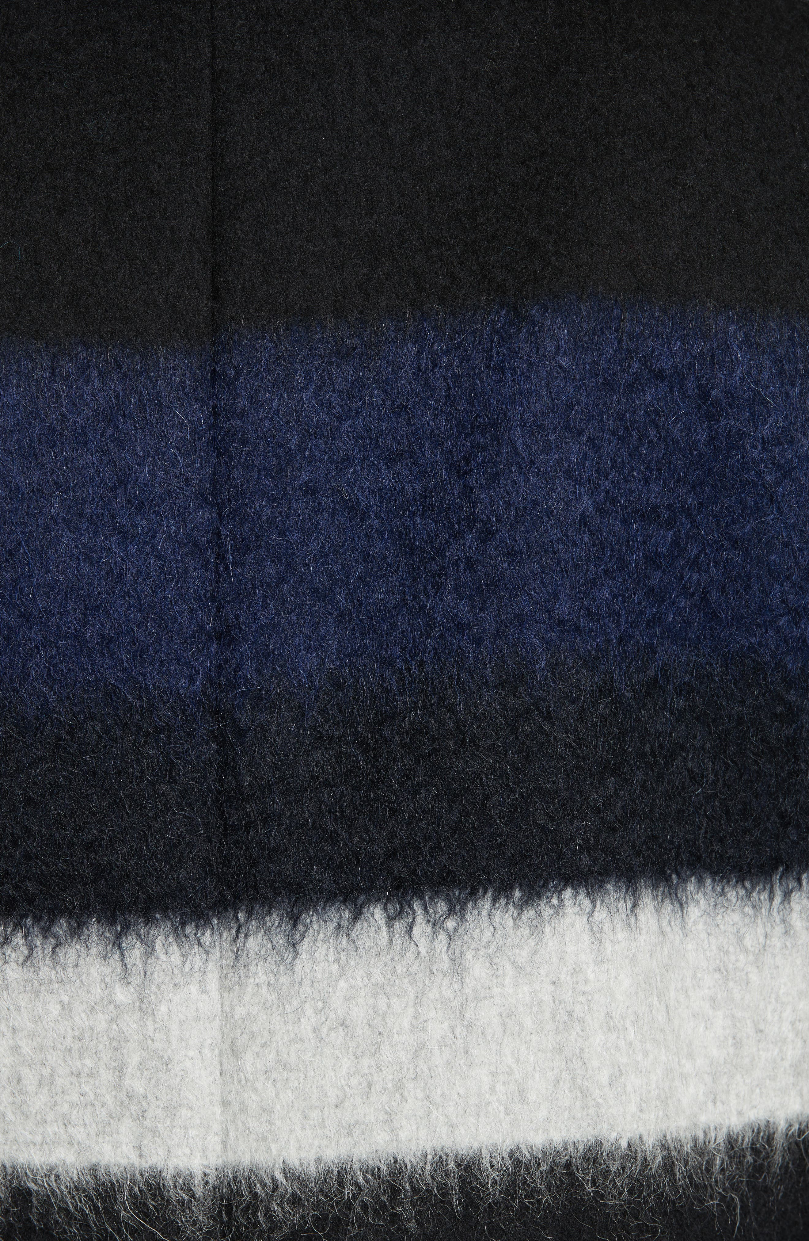 DIANE VON FURSTENBERG,                             Stripe Wool Blend Coat,                             Alternate thumbnail 5, color,                             005