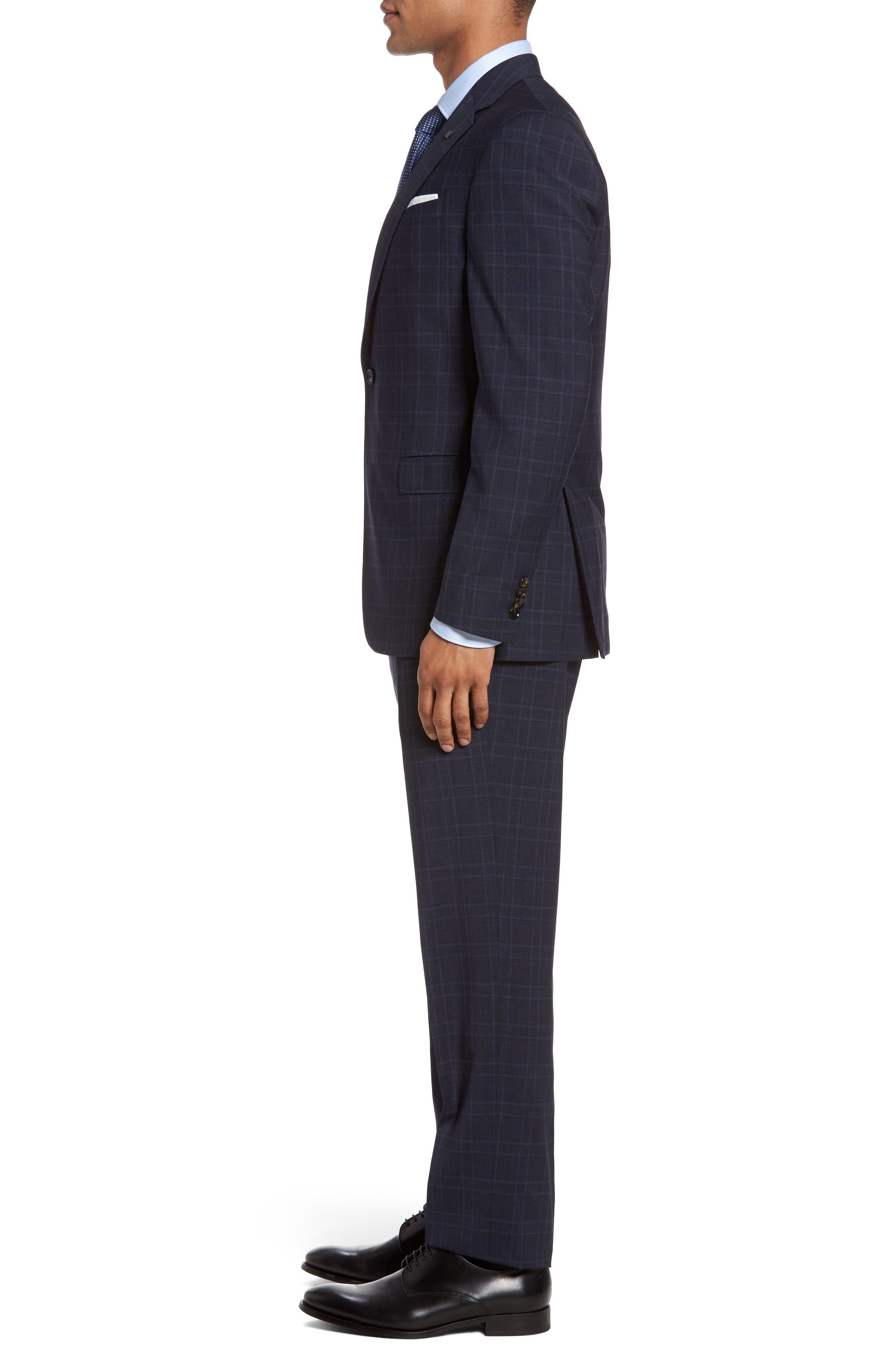 Jay Trim Fit Plaid Wool Suit,                             Alternate thumbnail 3, color,                             400