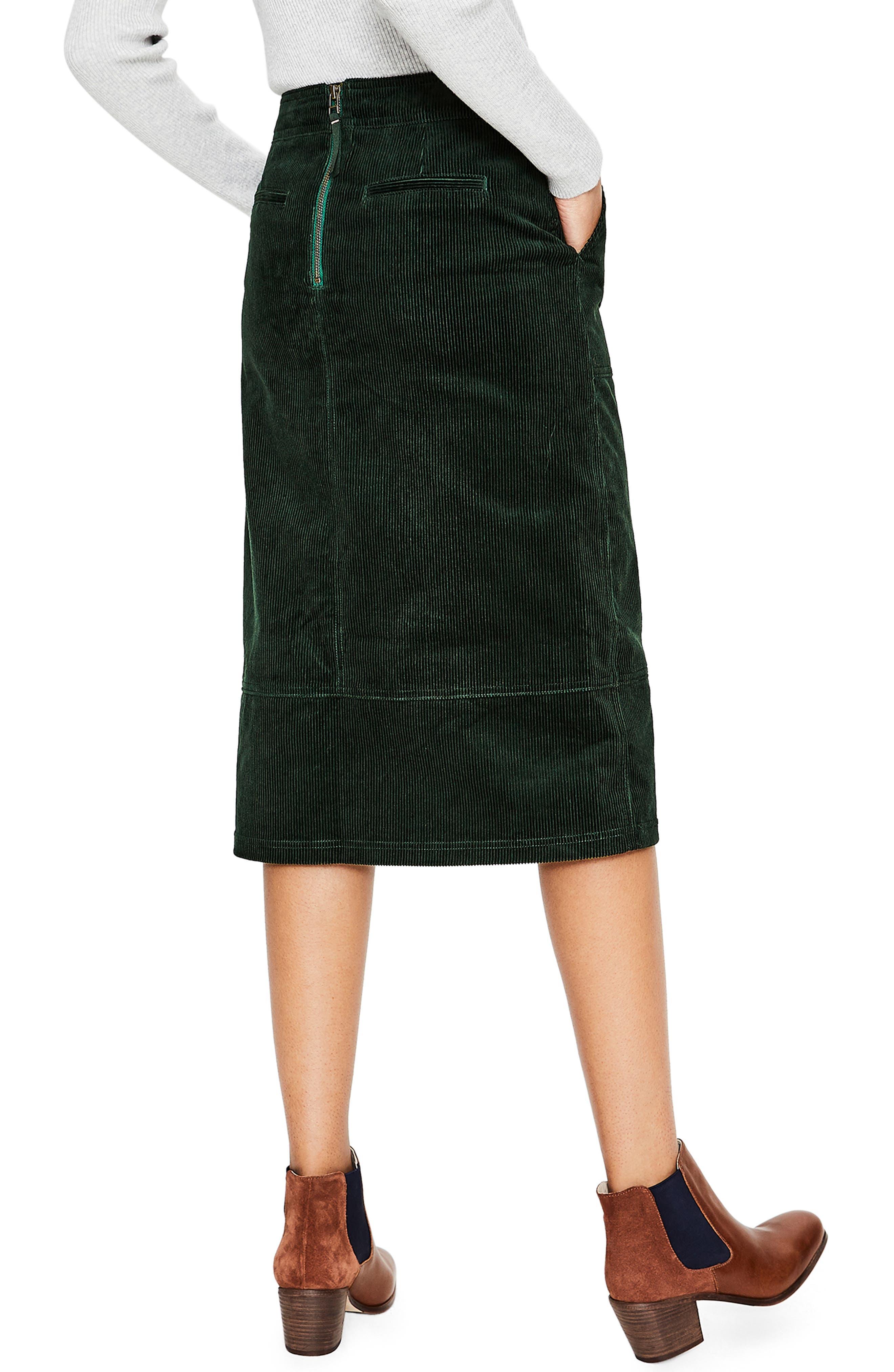 Patch Pocket Corduroy Midi Skirt,                             Alternate thumbnail 2, color,                             CHATSWORTH GREEN