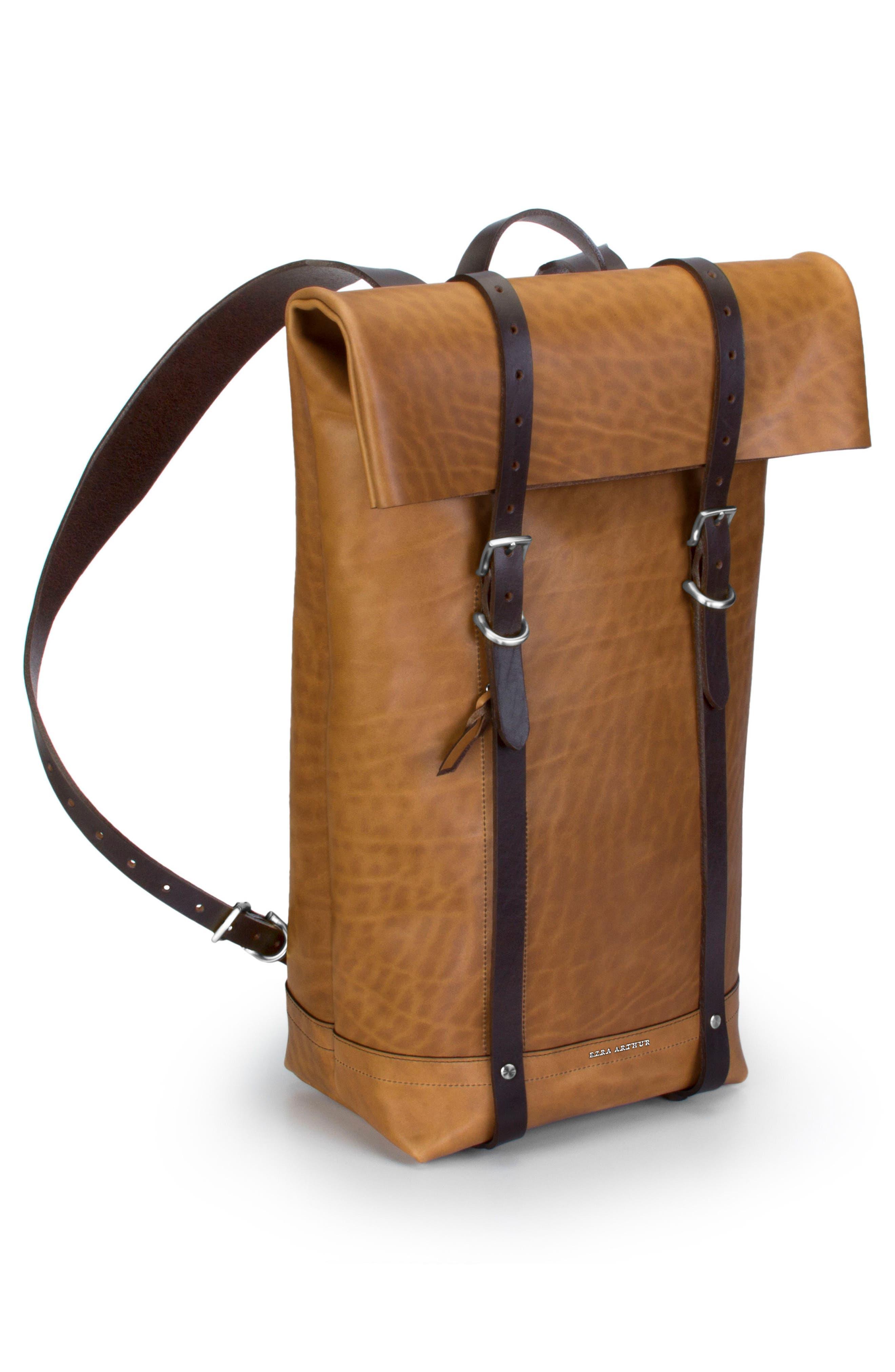 Keystone Nickel Detail Leather Rucksack,                             Alternate thumbnail 4, color,                             WHISKEY / NICKEL