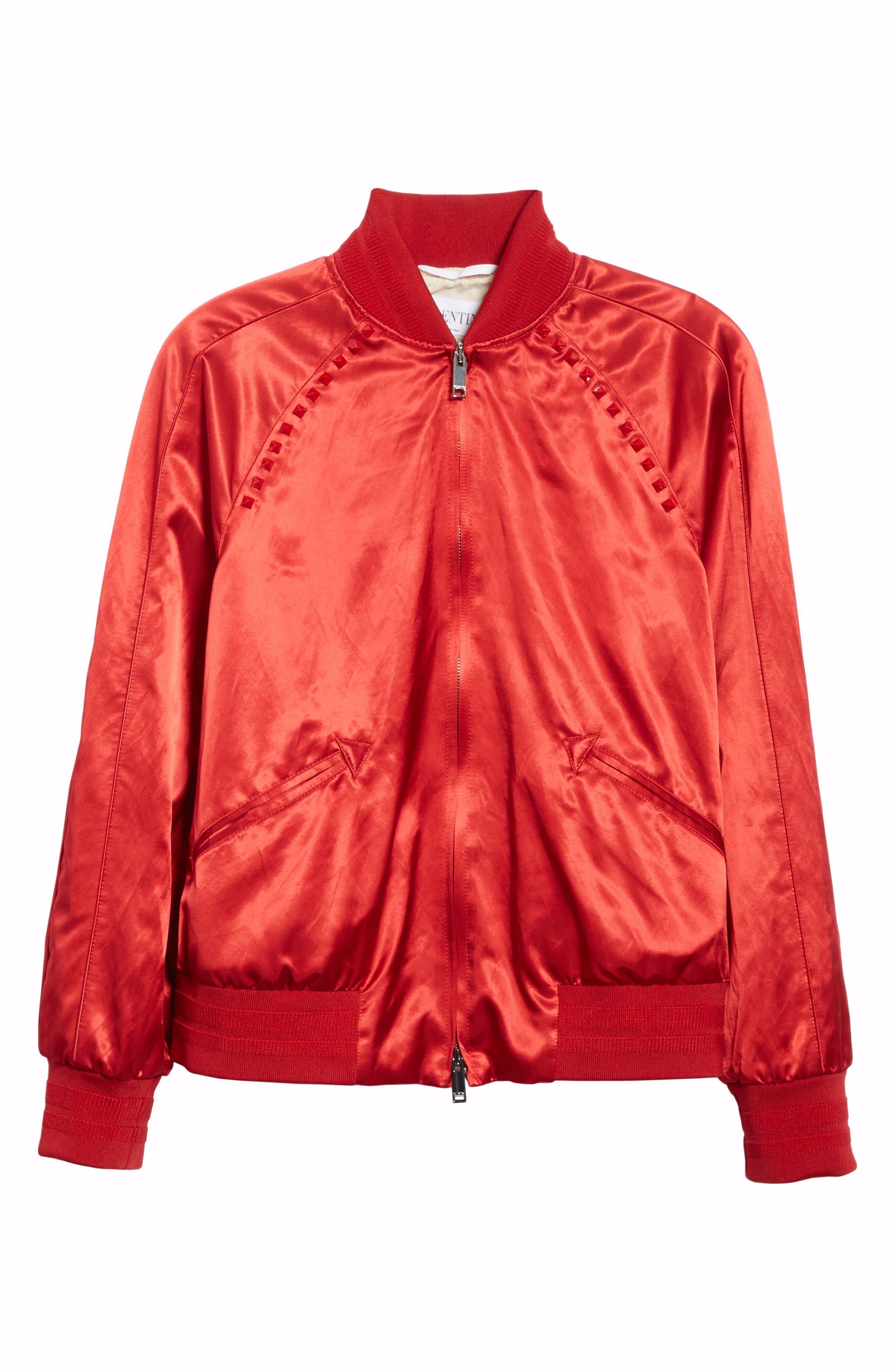 Rockstud Satin Bomber Jacket,                             Alternate thumbnail 5, color,                             RED